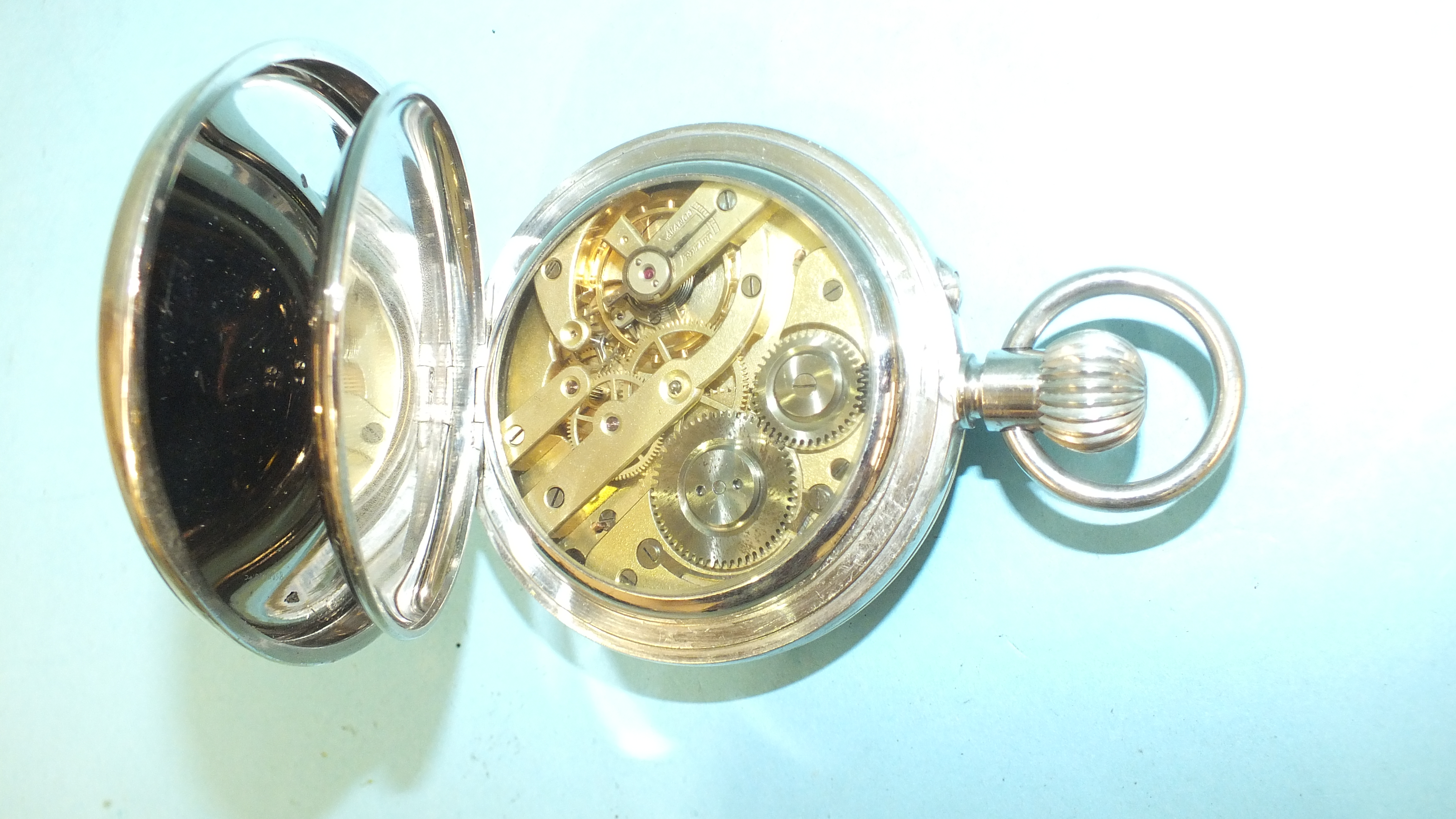 A silver embossed pocket watch holder of triangular form, Birmingham 1898, 11.5 x 11.5cm, (holes - Image 4 of 15