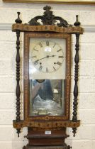 A late-19th century inlaid wood Vienna-style wall clock, the movement striking on a bell, 93cm high.
