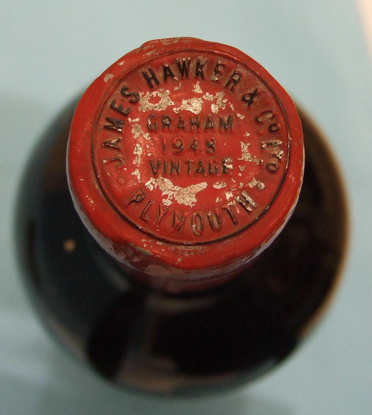 Graham 1948 vintage Port, bottled for James Hawker & Co. Plymouth, (bottom-neck, lead foil intact, - Image 2 of 2