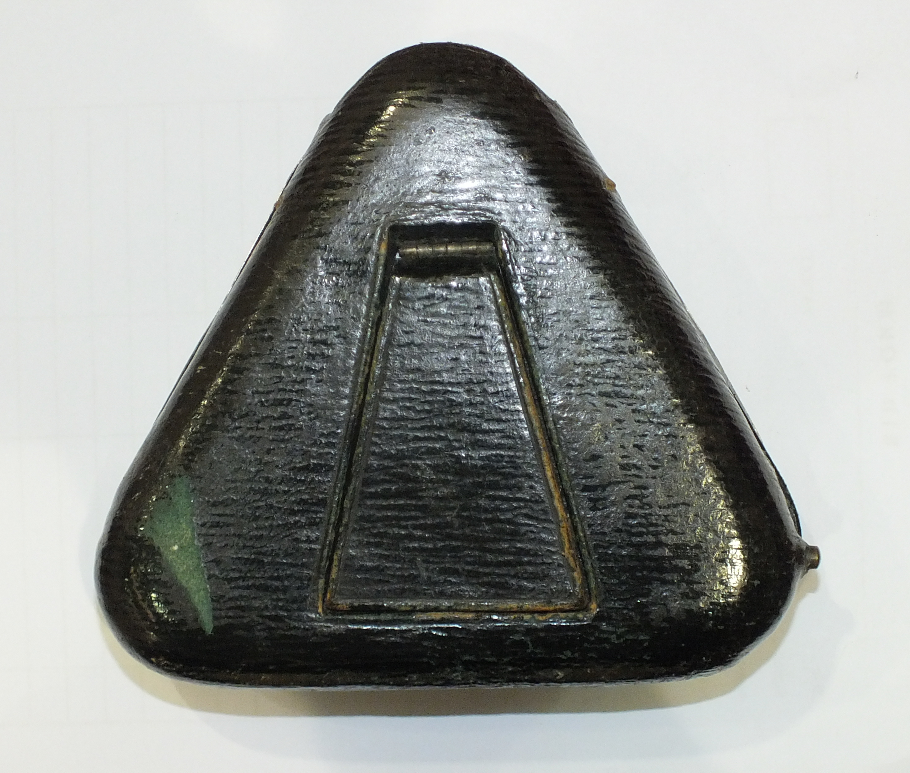 A silver embossed pocket watch holder of triangular form, Birmingham 1898, 11.5 x 11.5cm, (holes - Image 15 of 15