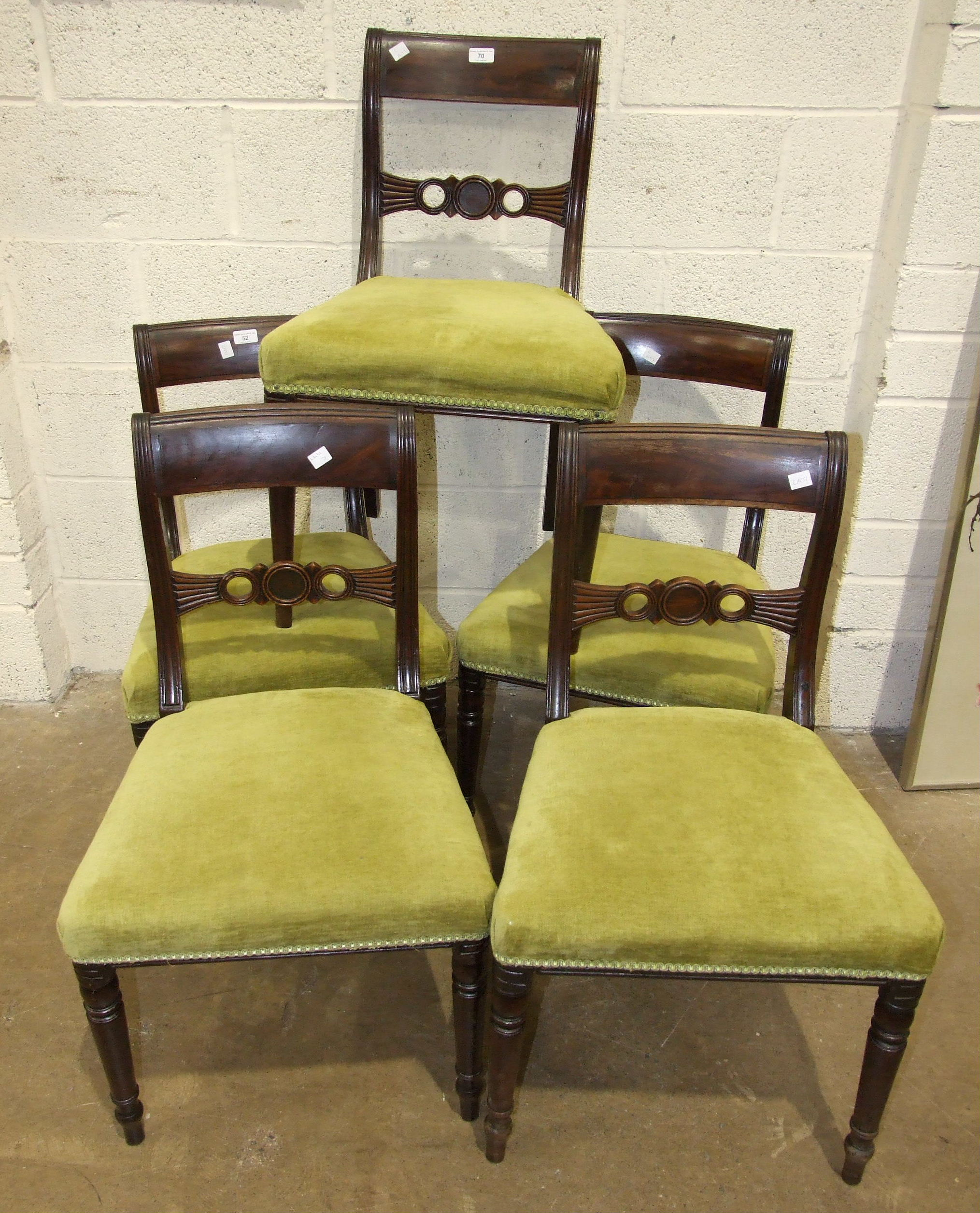A set of four early-Victorian mahogany dining chairs, with curved top rails and open backs, also - Image 3 of 3