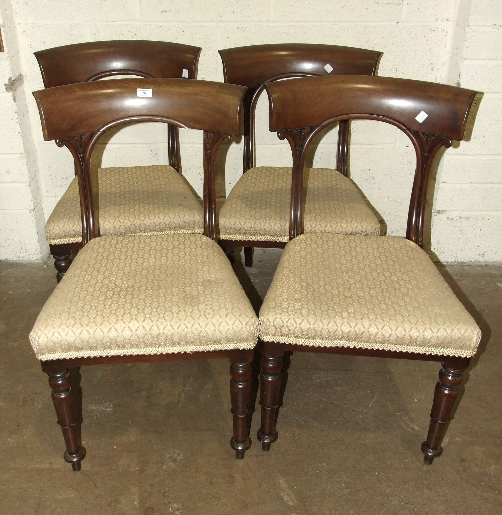 A set of four early-Victorian mahogany dining chairs, with curved top rails and open backs, also - Image 2 of 3