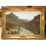 F Hays (late-20th century), 'River running through a Continental landscape', signed oil on canvas,