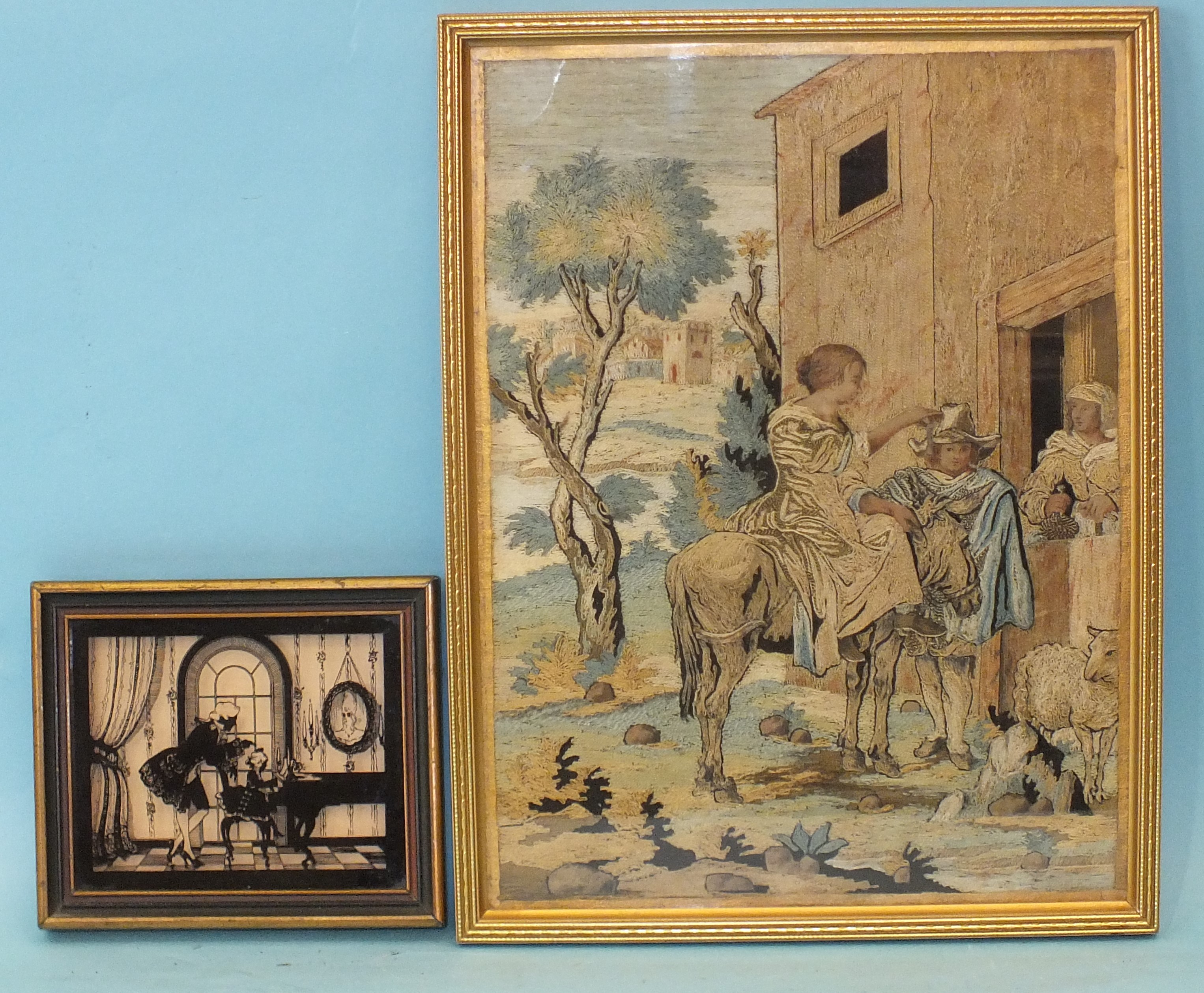A 19th century needlework panel, with figures, a donkey, sheep and a village behind, 28 x 20cm and a