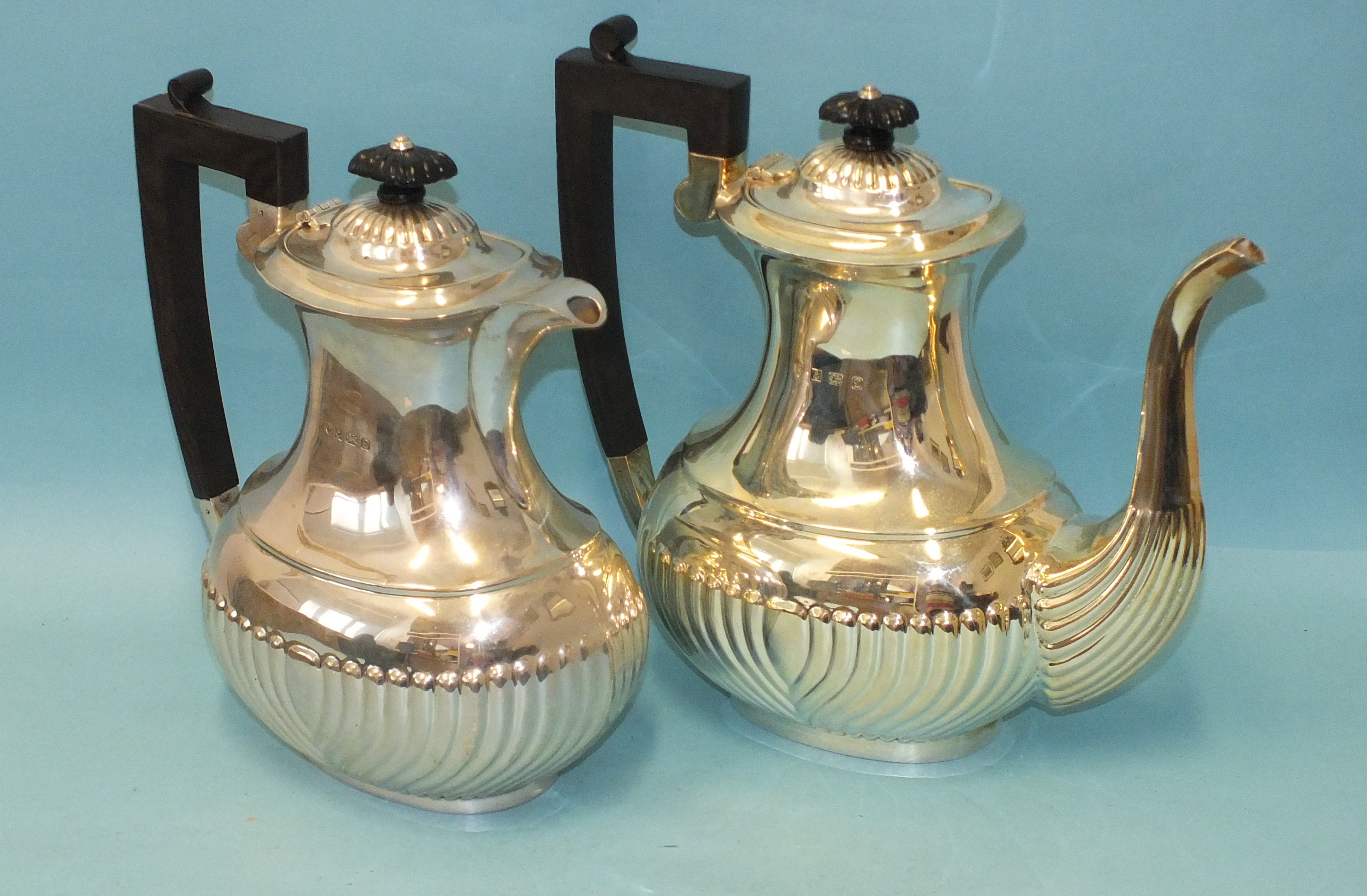 A modern silver half-gadrooned coffee pot and hot water jug, makers J B Chatterley & Sons Ltd,