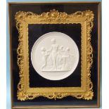 A Royal Copenhagen bisque relief plaque of circular form, (13.5cm diameter), depicting a classic