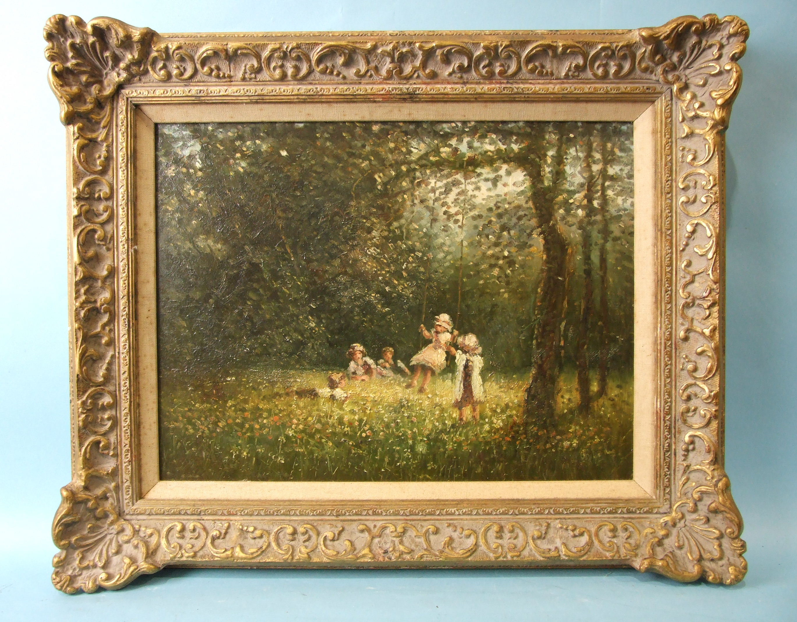 20th century English School CHILDREN PLAYING ON A WOODLAND SWING Unsigned oil on board, 29 x 40cm.