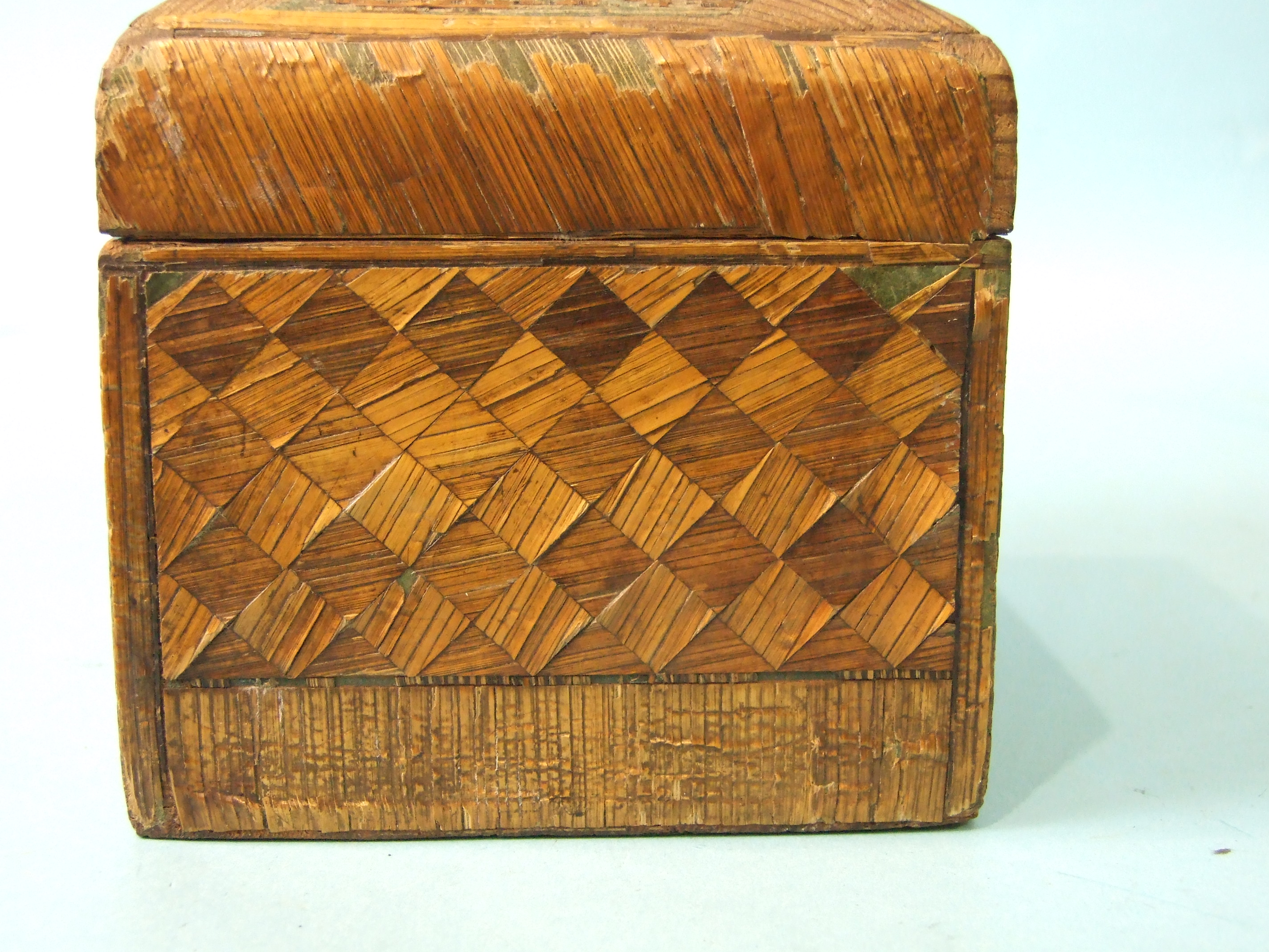 A 19th century straw-work tea caddy, 16cm wide, 12cm high, (losses) and a tortoiseshell two-division - Image 3 of 9