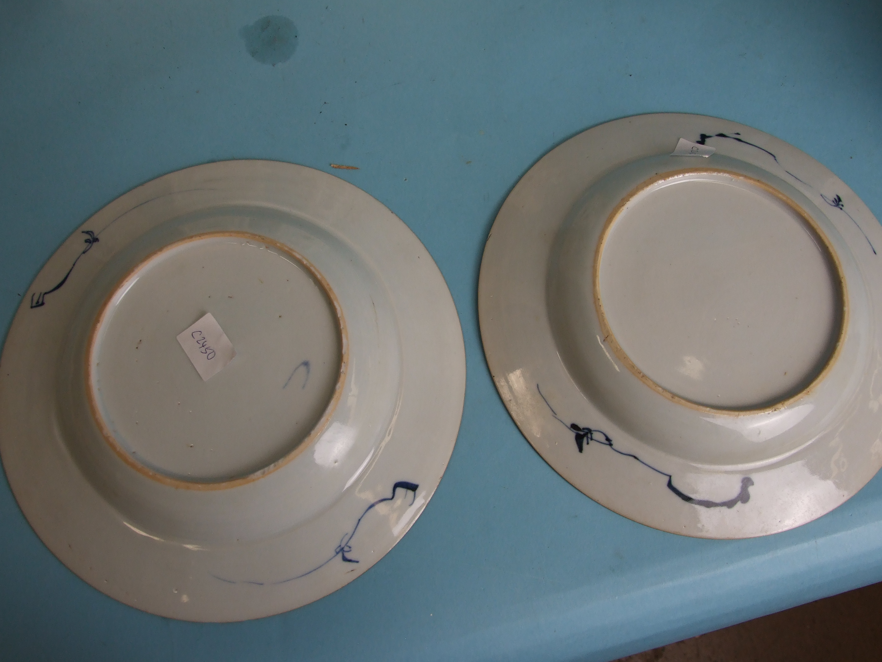 A pair of Chinese porcelain blue and white plates decorated with bamboo and poppy seed heads, 22cm - Image 5 of 8