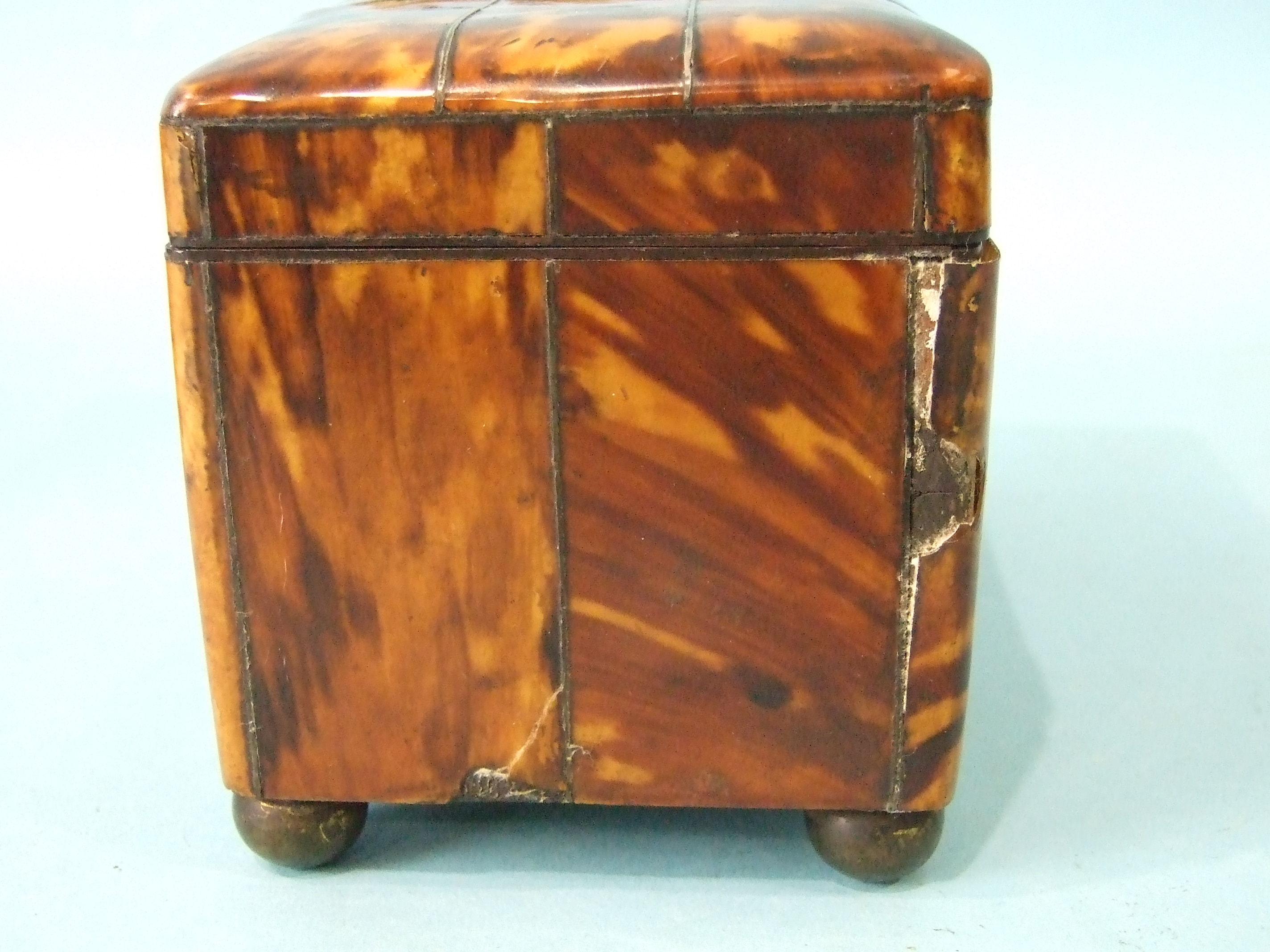 A 19th century straw-work tea caddy, 16cm wide, 12cm high, (losses) and a tortoiseshell two-division - Image 7 of 9