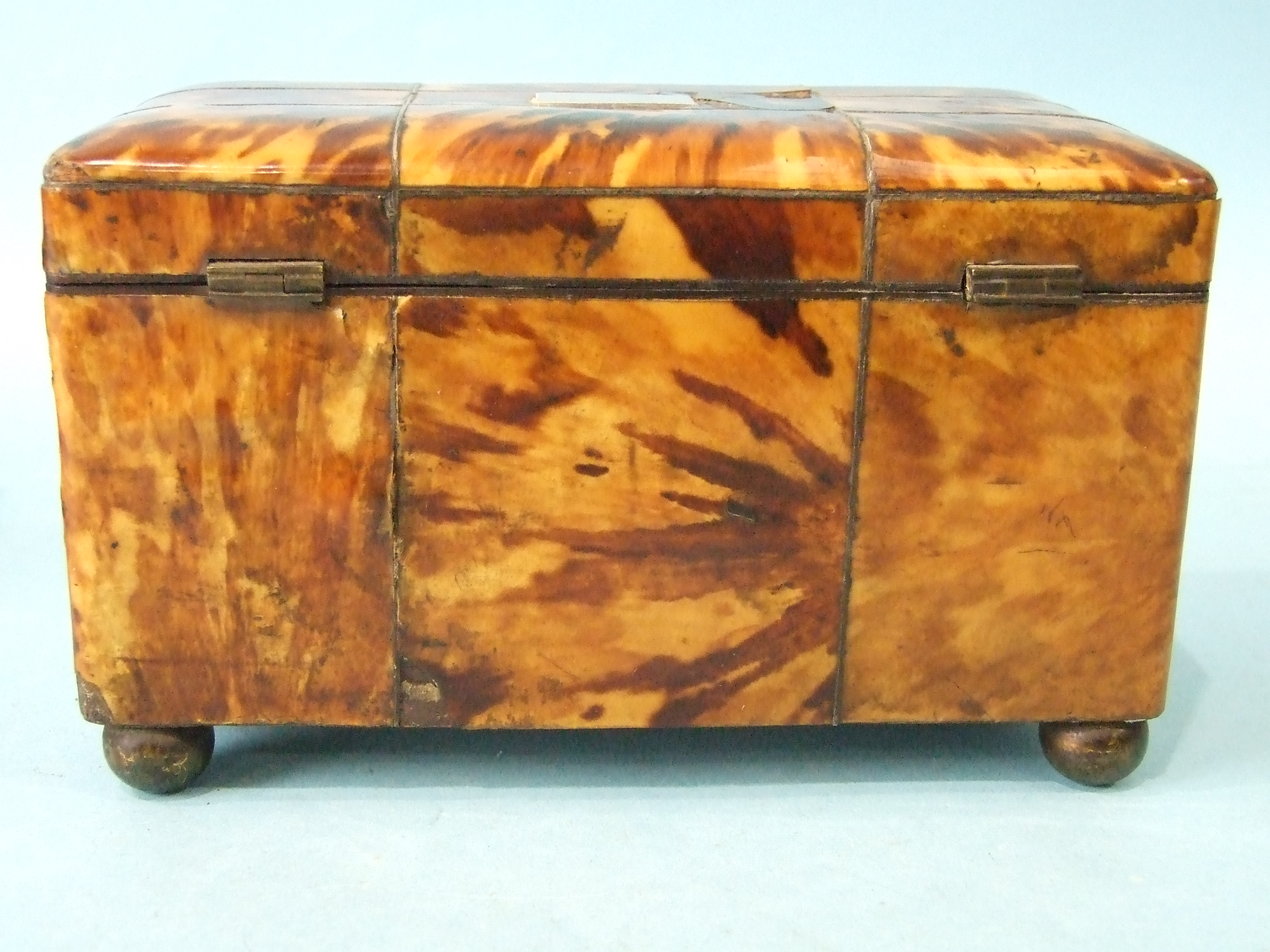 A 19th century straw-work tea caddy, 16cm wide, 12cm high, (losses) and a tortoiseshell two-division - Image 6 of 9