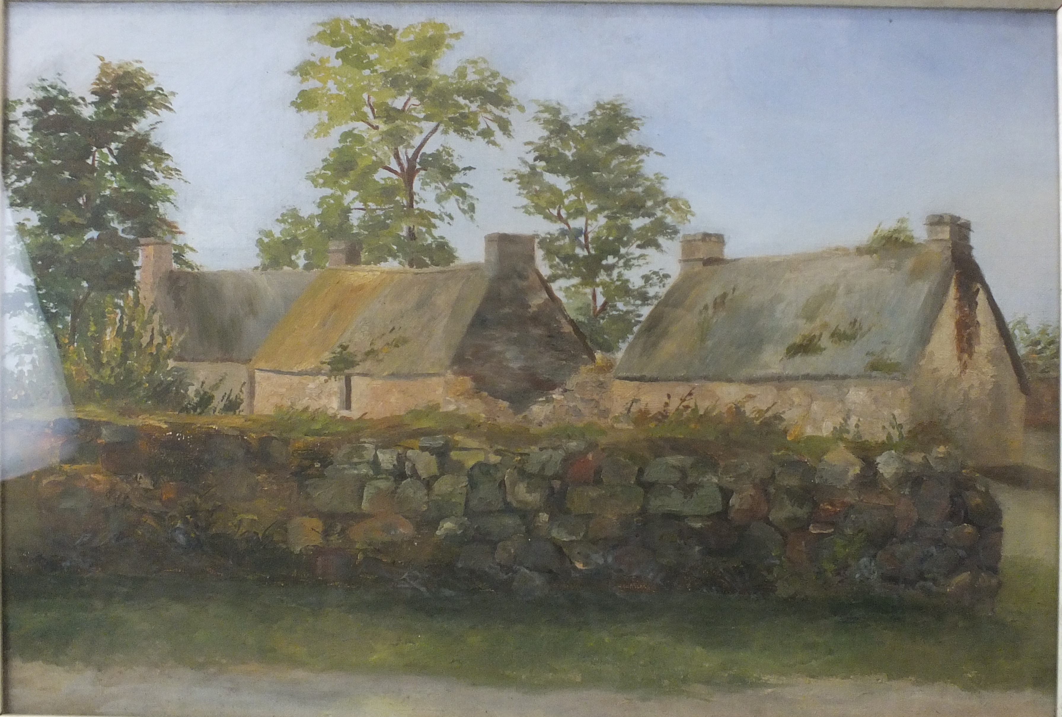 Late-19th/early-20th century GROUP OF THREE THATCHED COTTAGES BEHIND A STONE WALL Unsigned oil on - Image 2 of 3