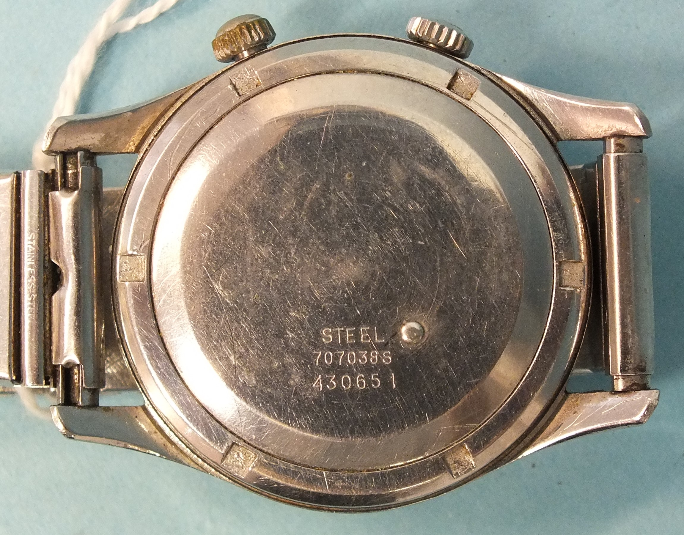 Ernest Borel, a gent's Rendez-vous alarm wrist watch c1960's, the two-tone silvered circular dial - Image 2 of 2