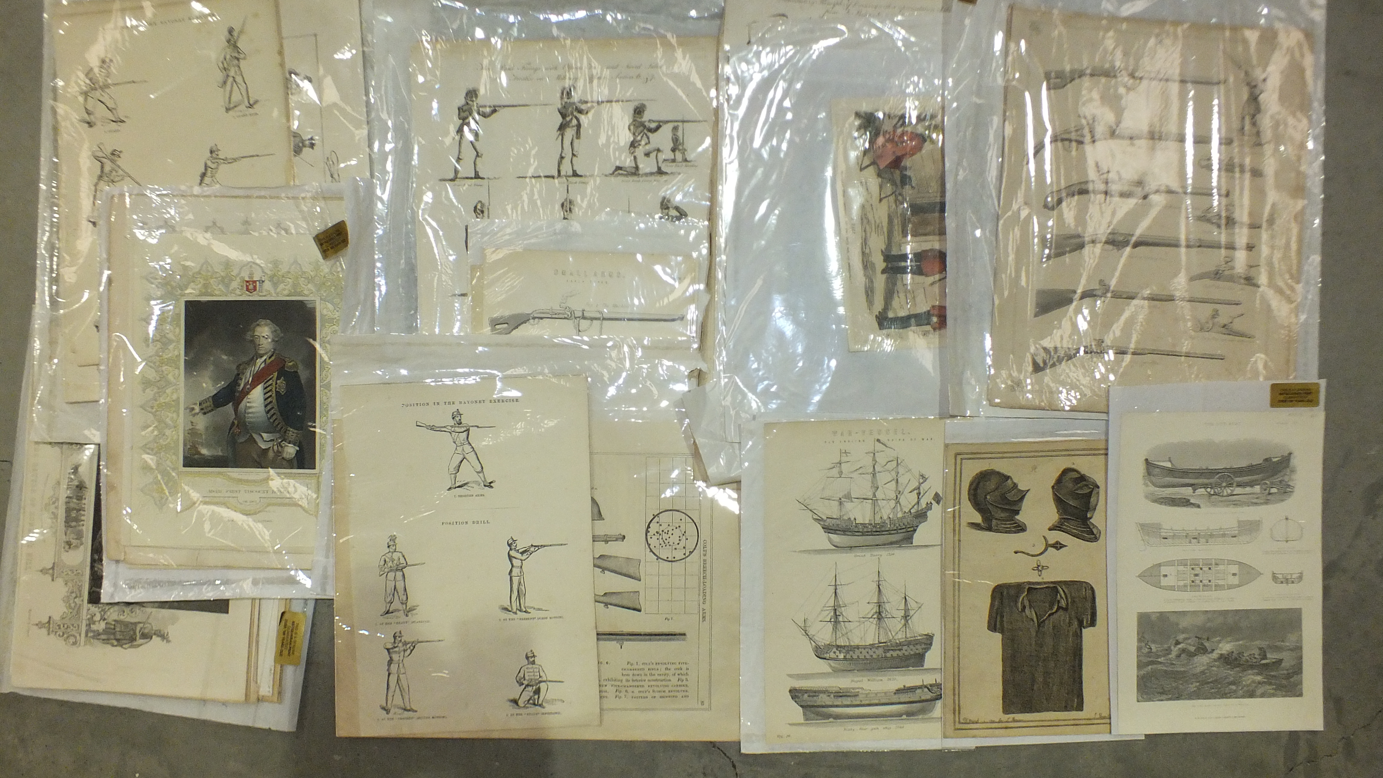 A collection of unframed engravings and book plates, mainly of military interest.