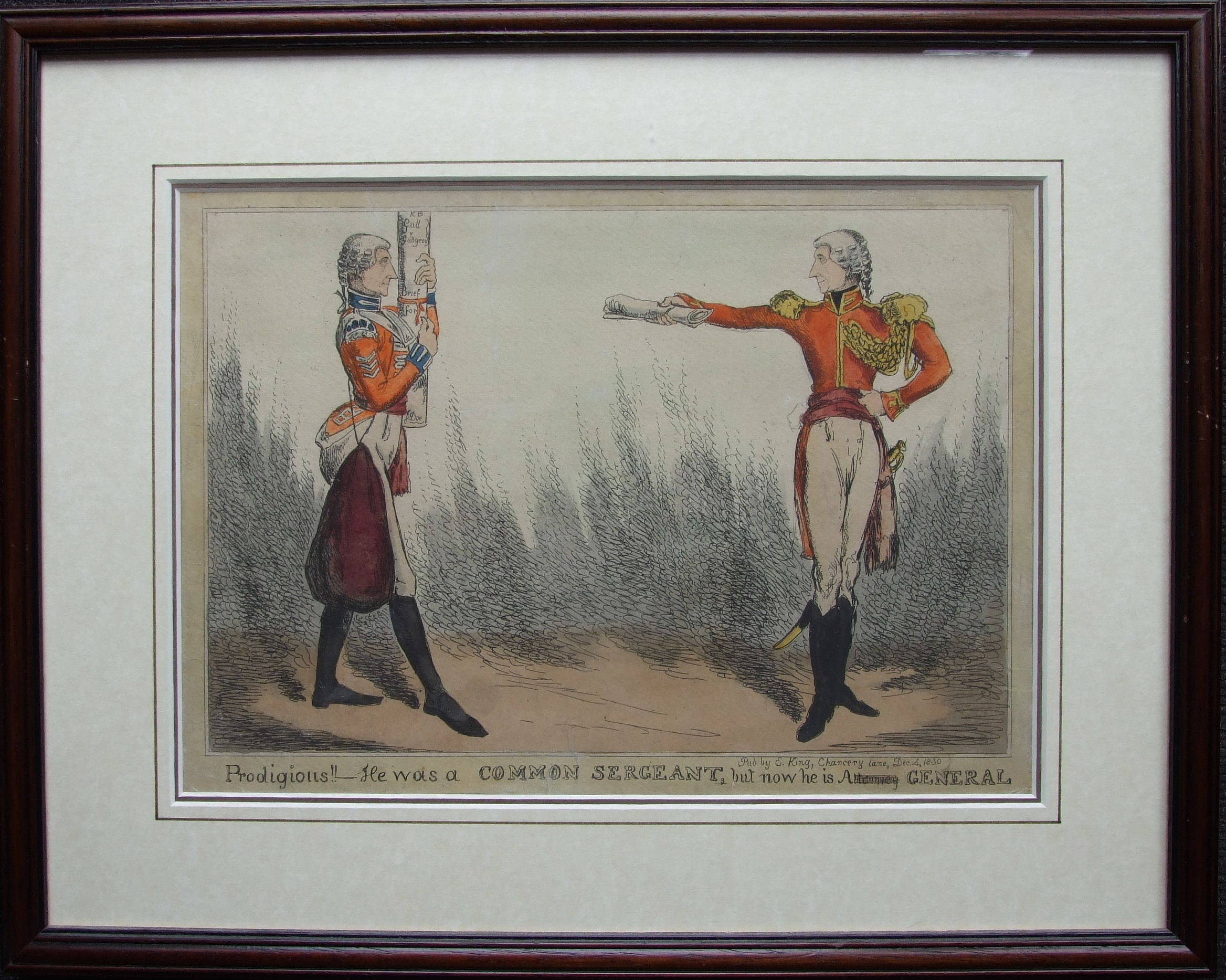 A collection of six framed political and satirical coloured engravings, Pub. Samuel Fores and - Image 4 of 4