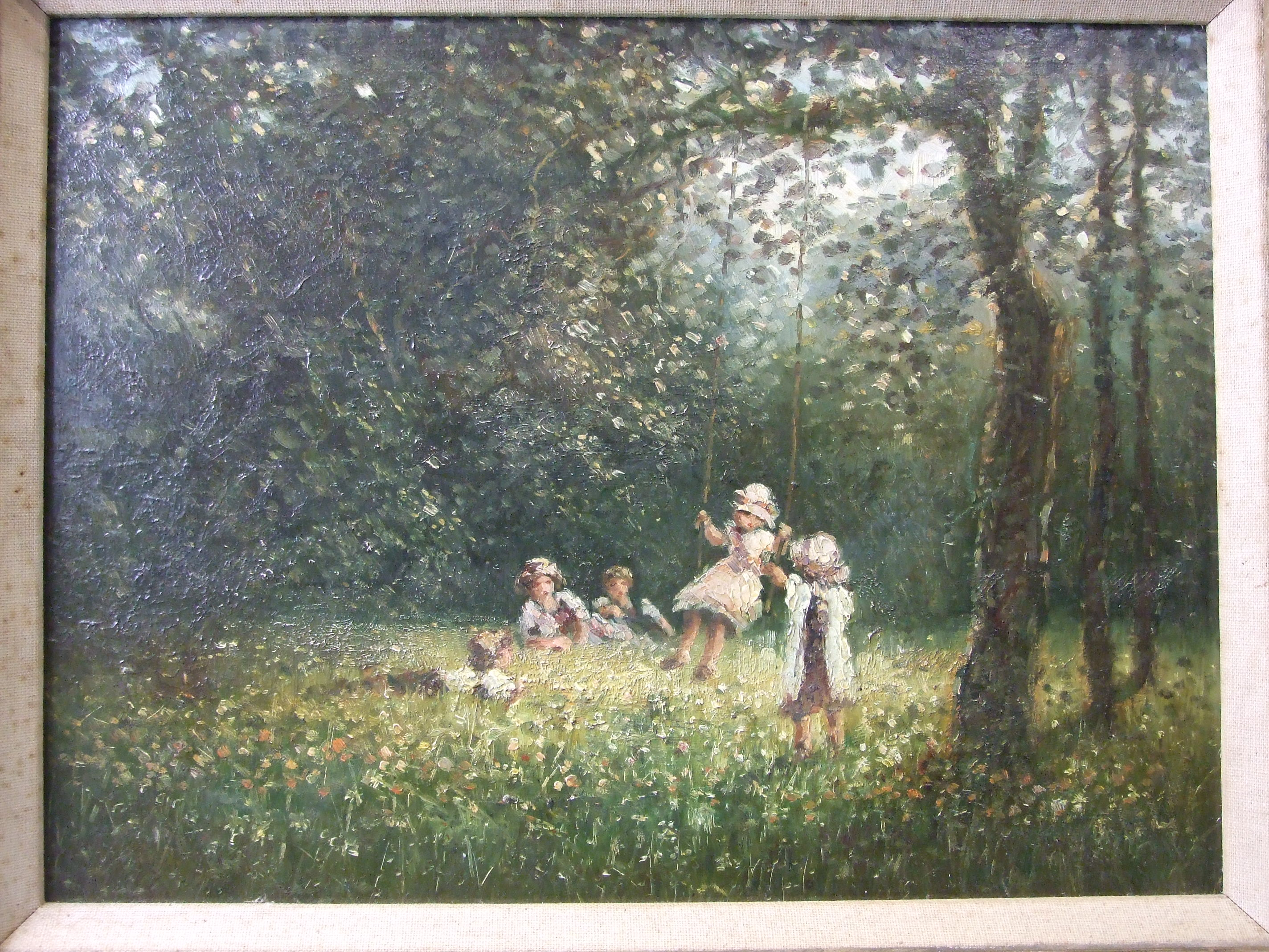 20th century English School CHILDREN PLAYING ON A WOODLAND SWING Unsigned oil on board, 29 x 40cm. - Image 3 of 3