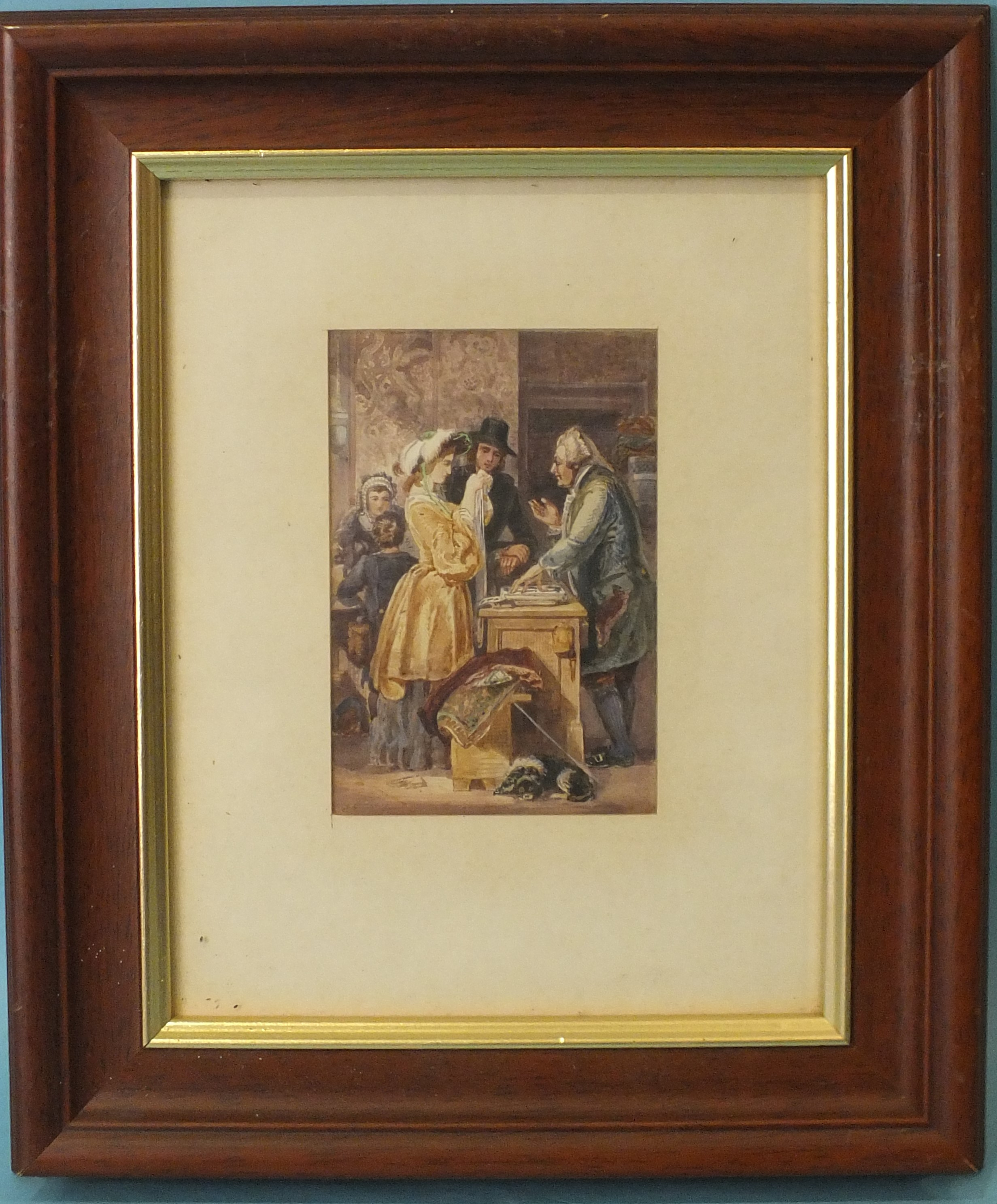 19th century THE HABERDASHERY SHOP Unsigned watercolour, 14 x 9.5cm.