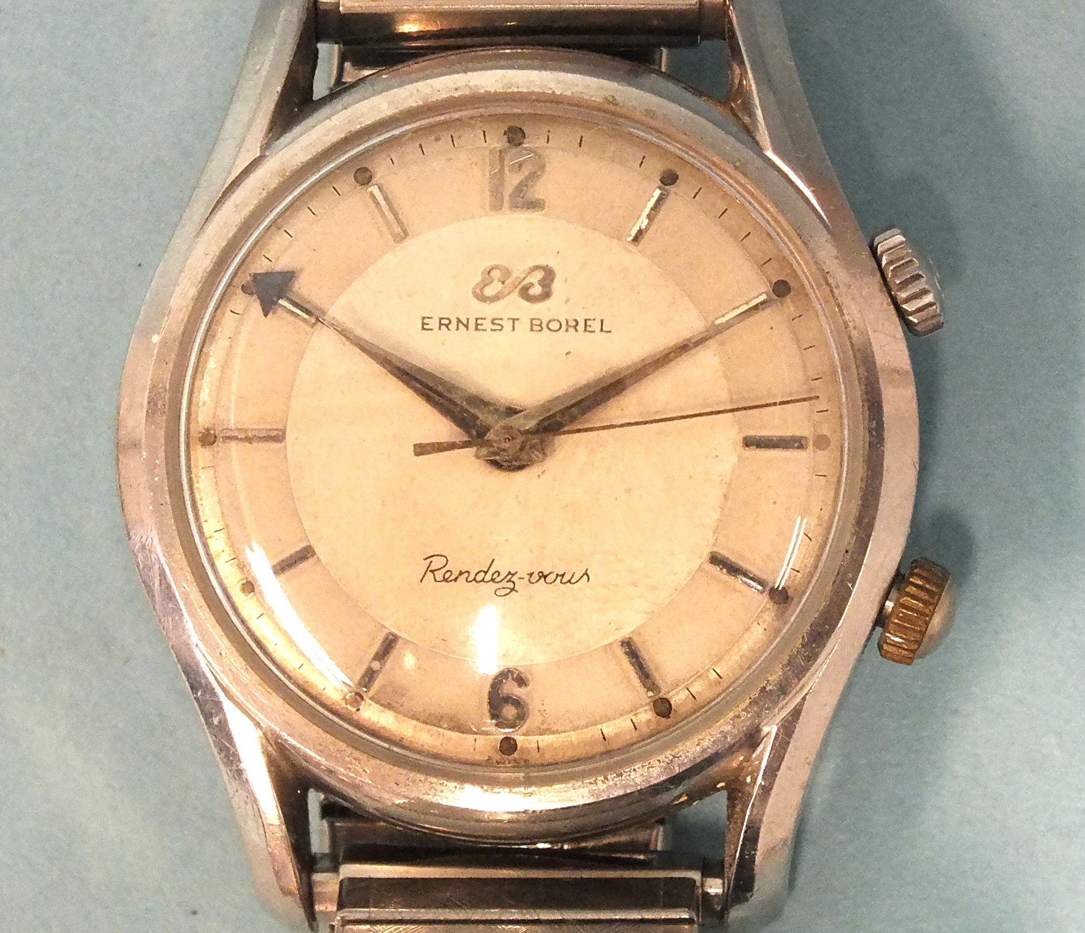 Ernest Borel, a gent's Rendez-vous alarm wrist watch c1960's, the two-tone silvered circular dial