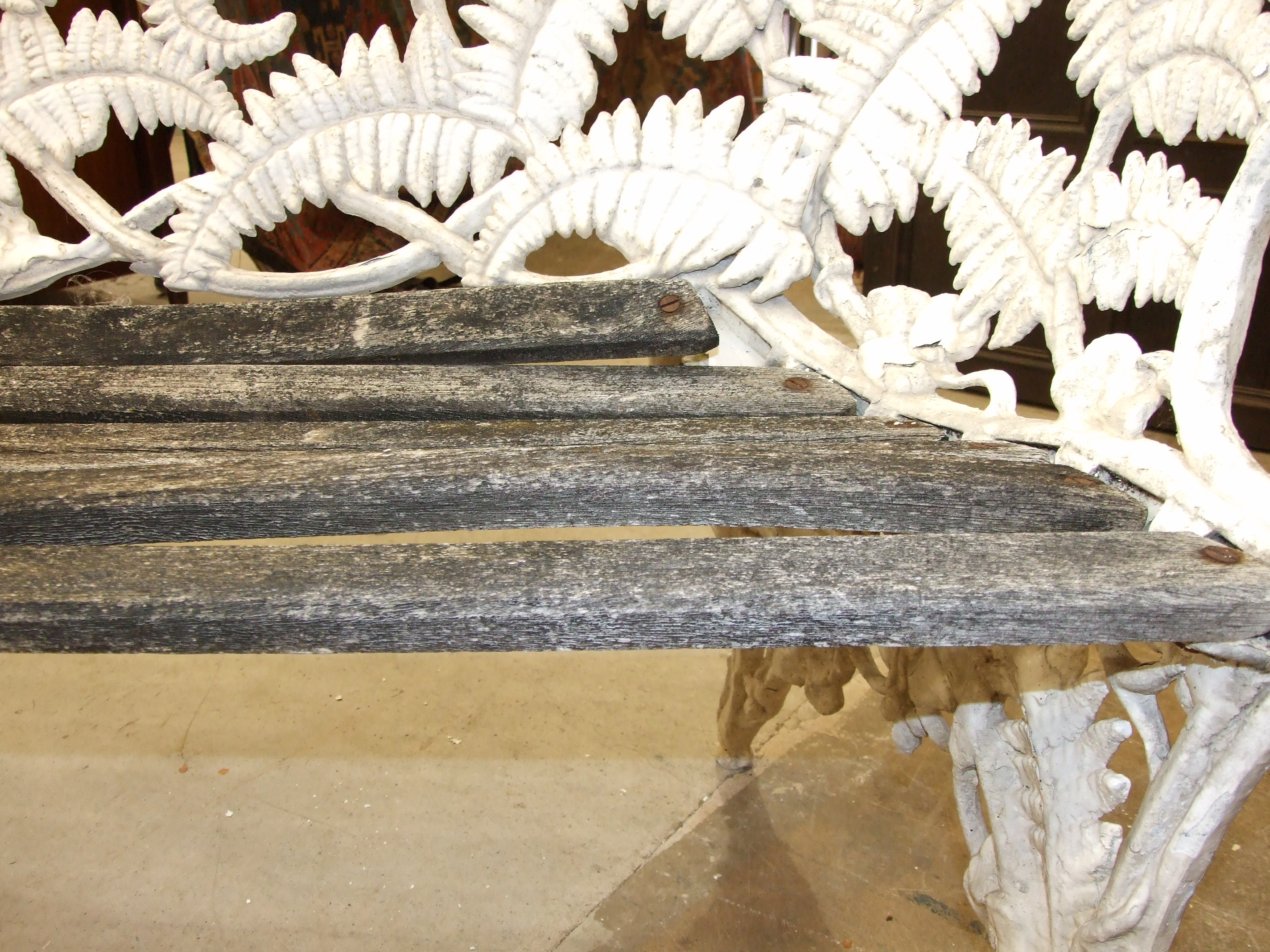 A cast alloy Coalbrookedale-style fern pattern garden bench, (the wooden slatted seat in need of - Image 5 of 5