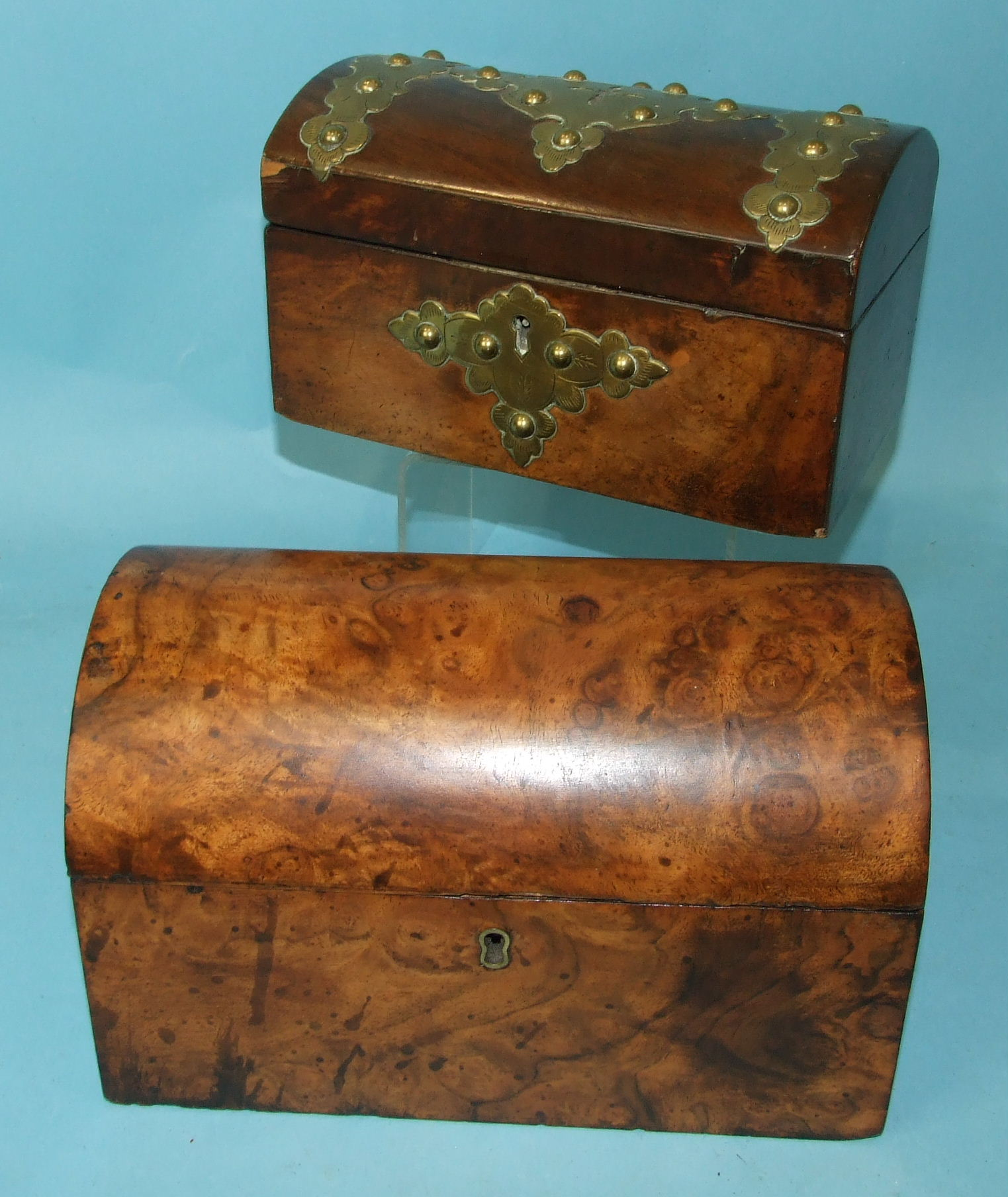 A Victorian burr walnut two-division tea caddy with domed lid, 21cm wide and a brass-bound walnut - Image 2 of 3
