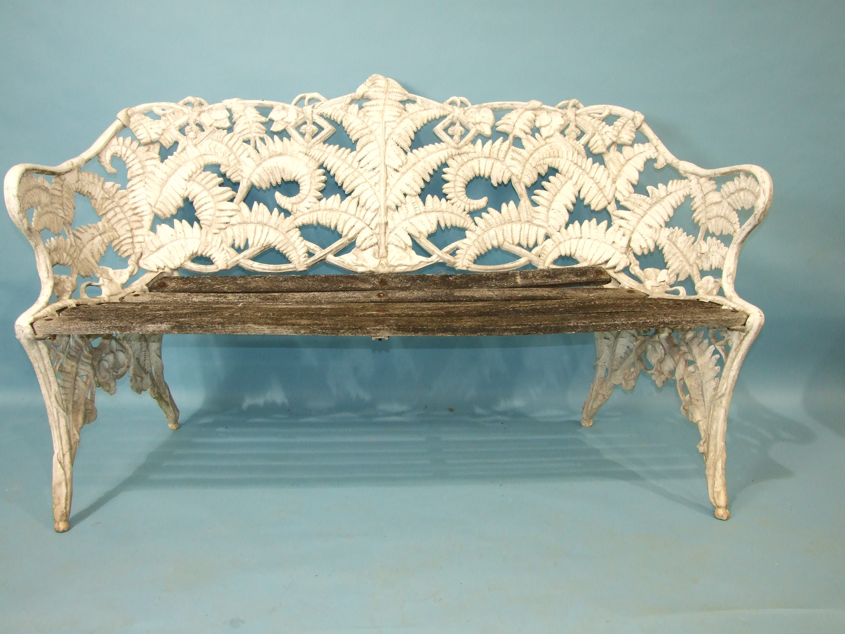 A cast alloy Coalbrookedale-style fern pattern garden bench, (the wooden slatted seat in need of - Image 2 of 5