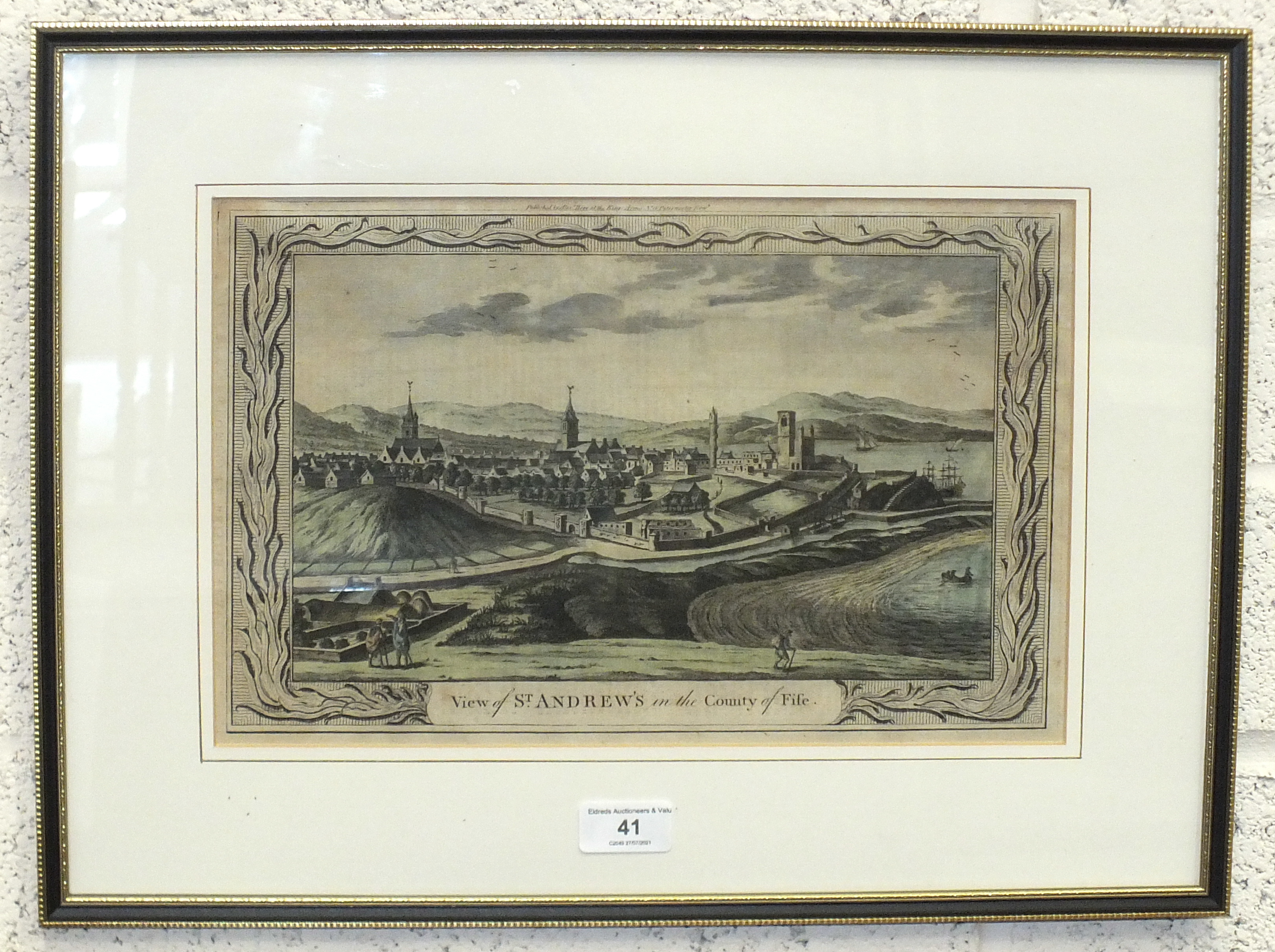 A 19th century hand-coloured engraving 'View of St Andrews in the County of Fife', 23 x 35cm. - Image 2 of 2