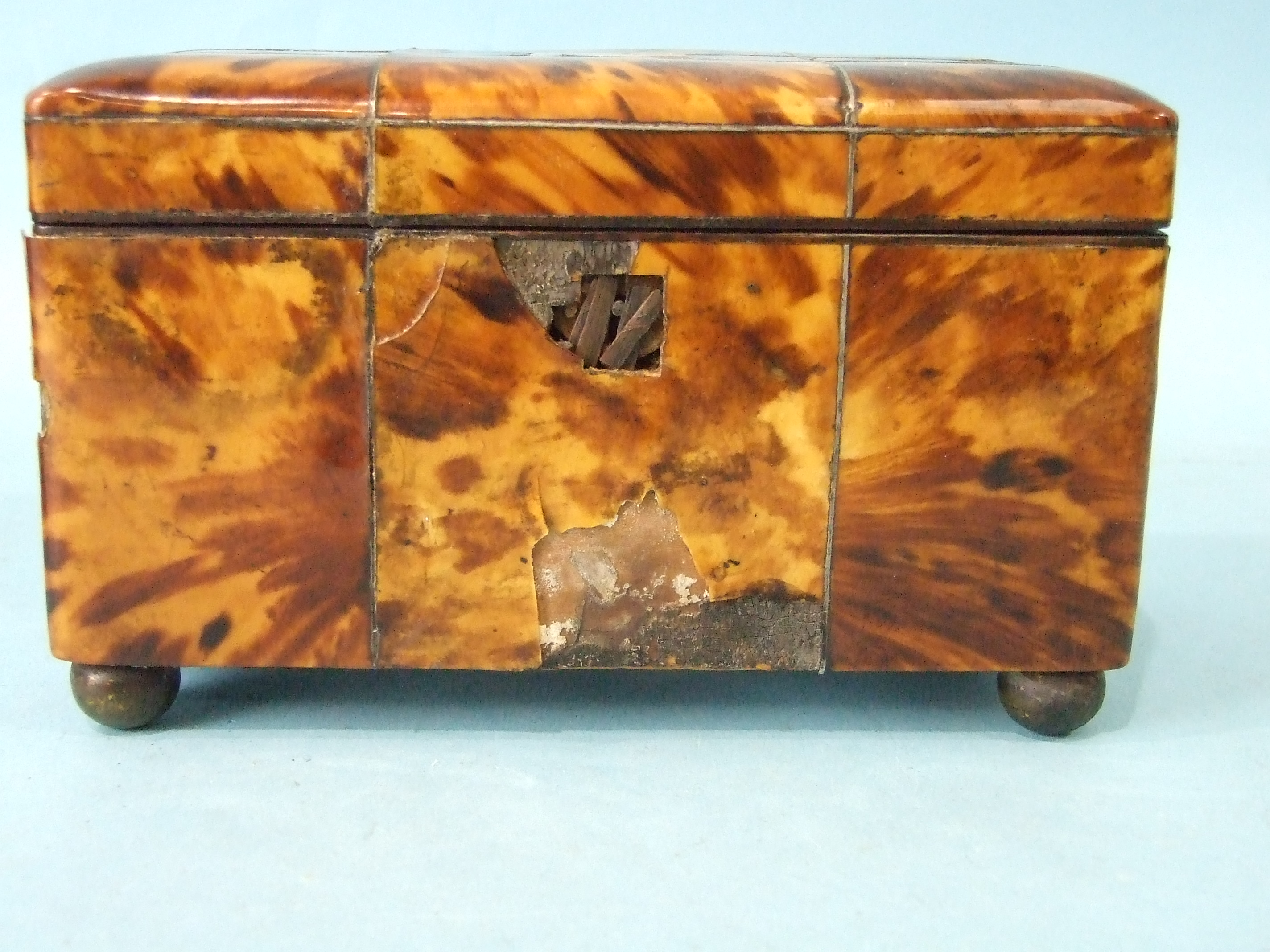 A 19th century straw-work tea caddy, 16cm wide, 12cm high, (losses) and a tortoiseshell two-division - Image 5 of 9