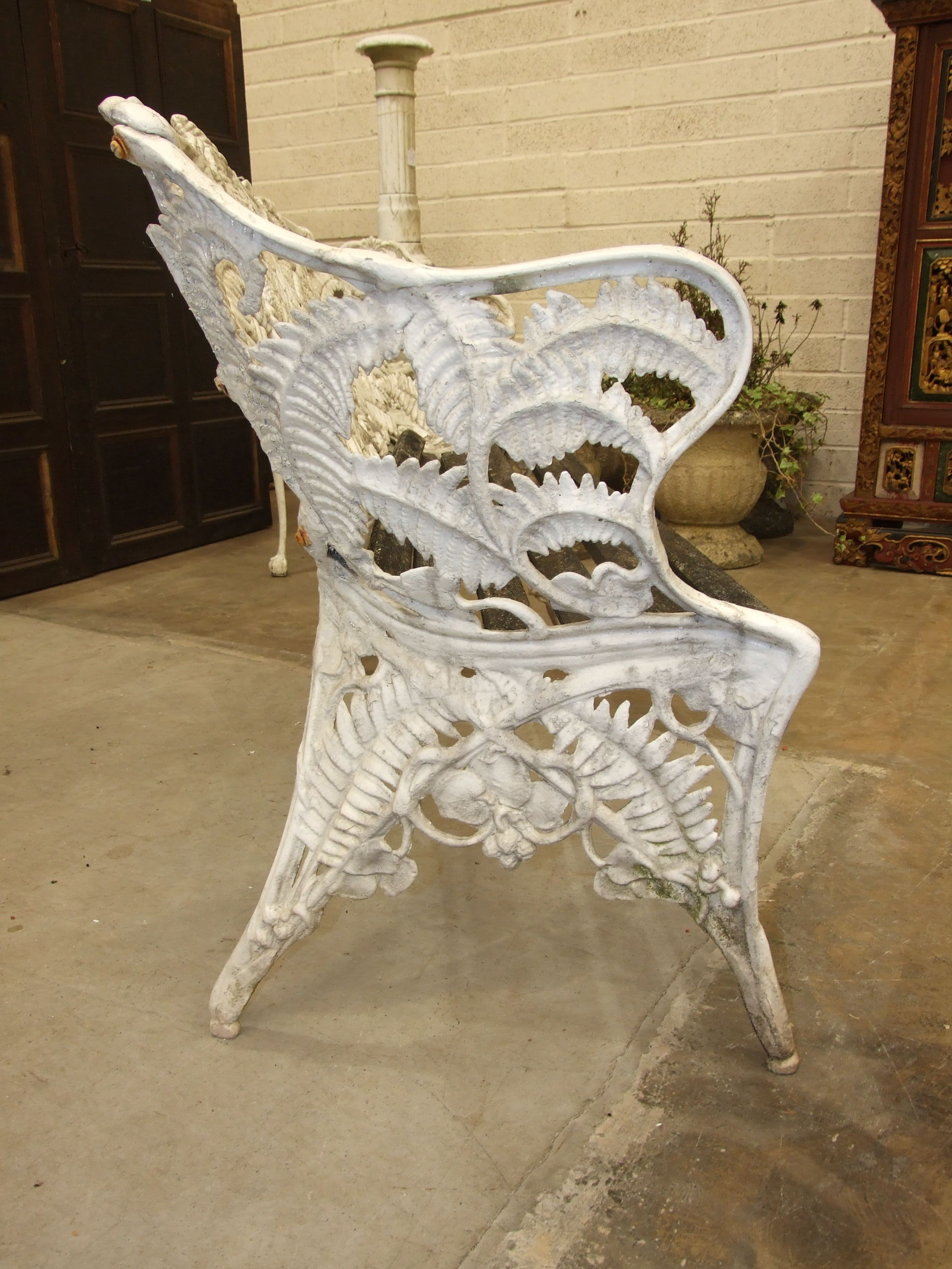 A cast alloy Coalbrookedale-style fern pattern garden bench, (the wooden slatted seat in need of - Image 3 of 5