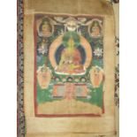 An early-20th century Tibetan painted cloth scroll depicting deities within a tree of life design,
