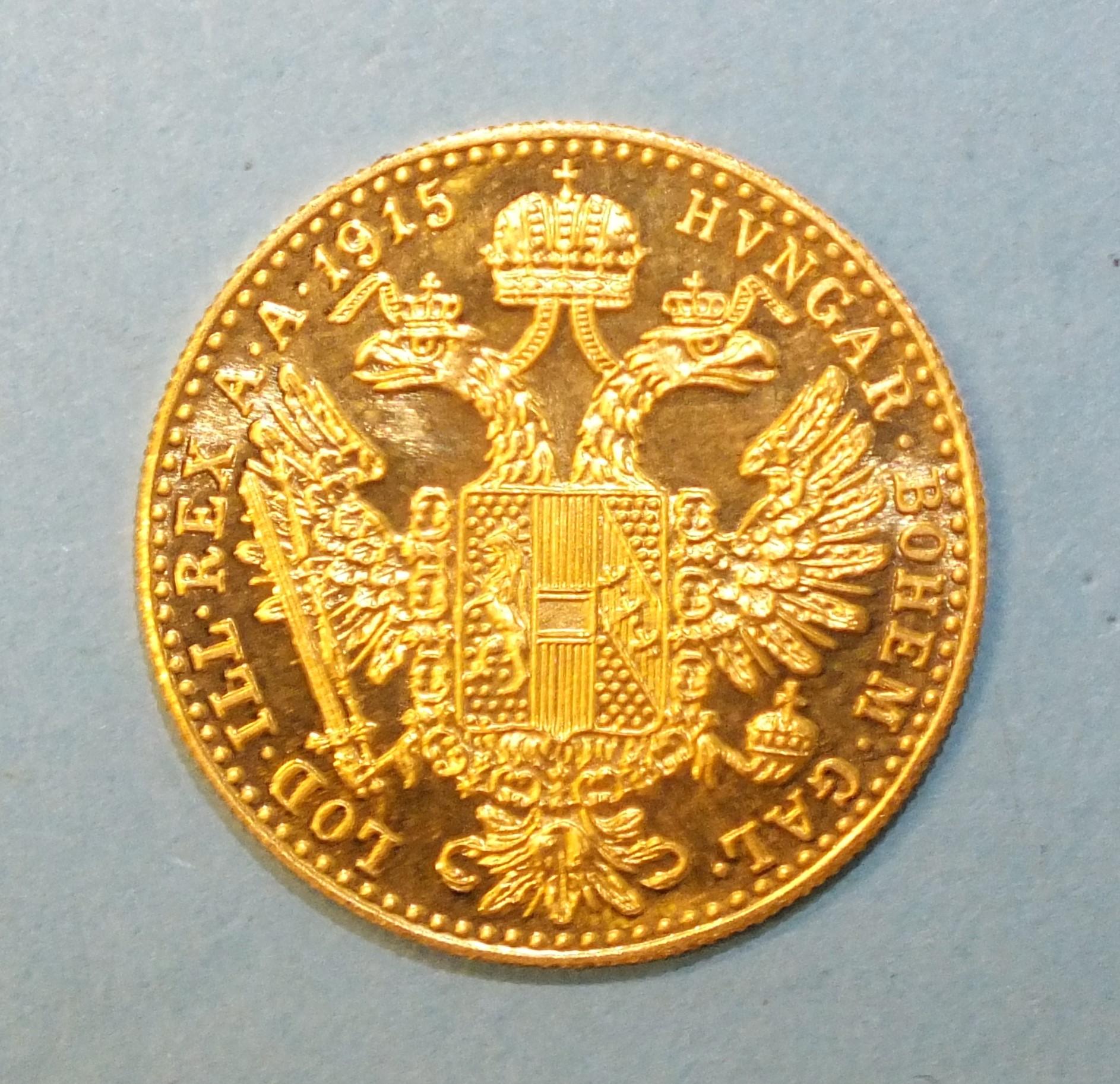 A 1915 Austria 1-ducat gold coin, 3.5g.