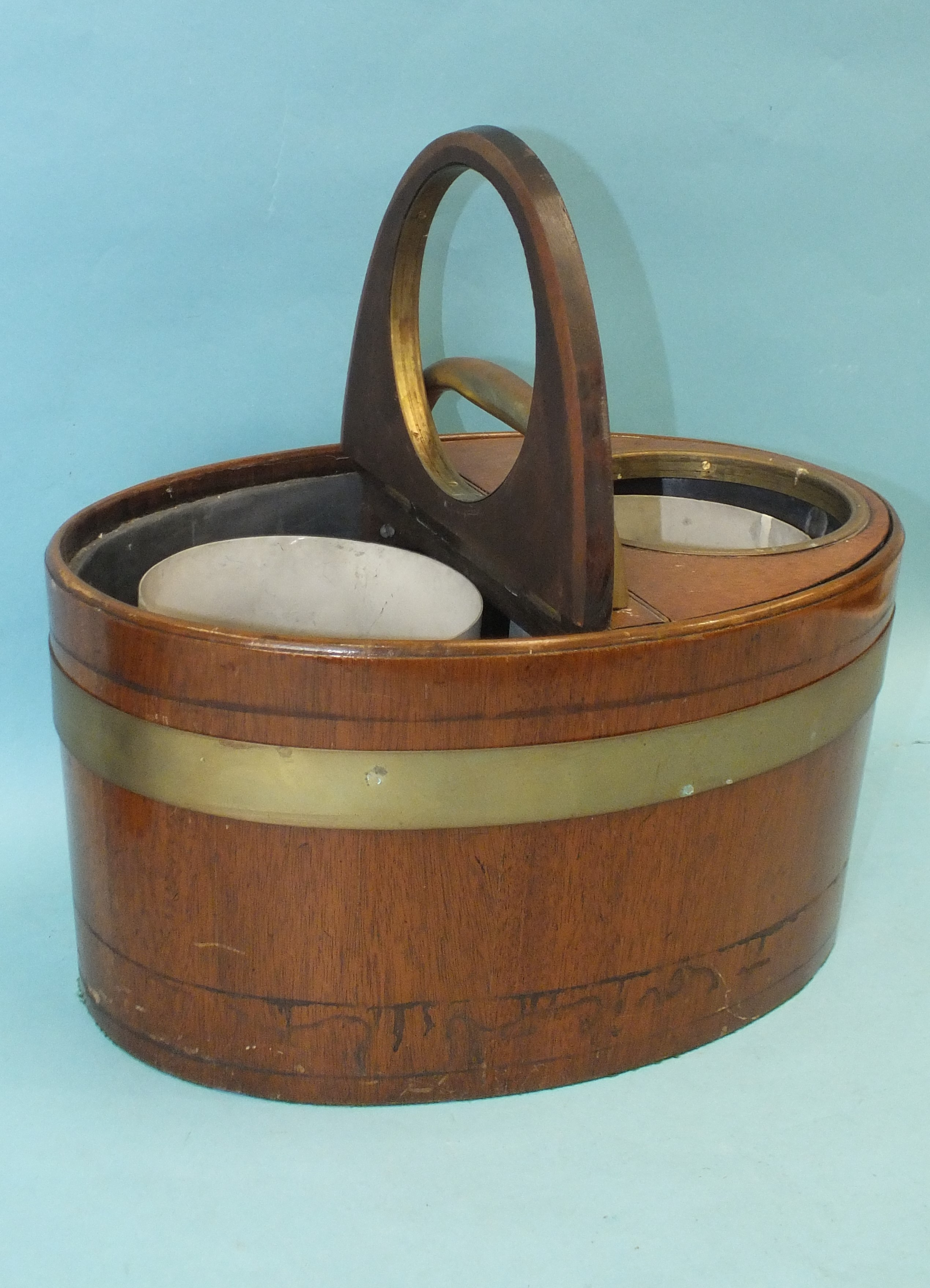 A coopered mahogany two-division wine cooler of oval form, fitted with a pair of hinged lids, with - Image 2 of 3