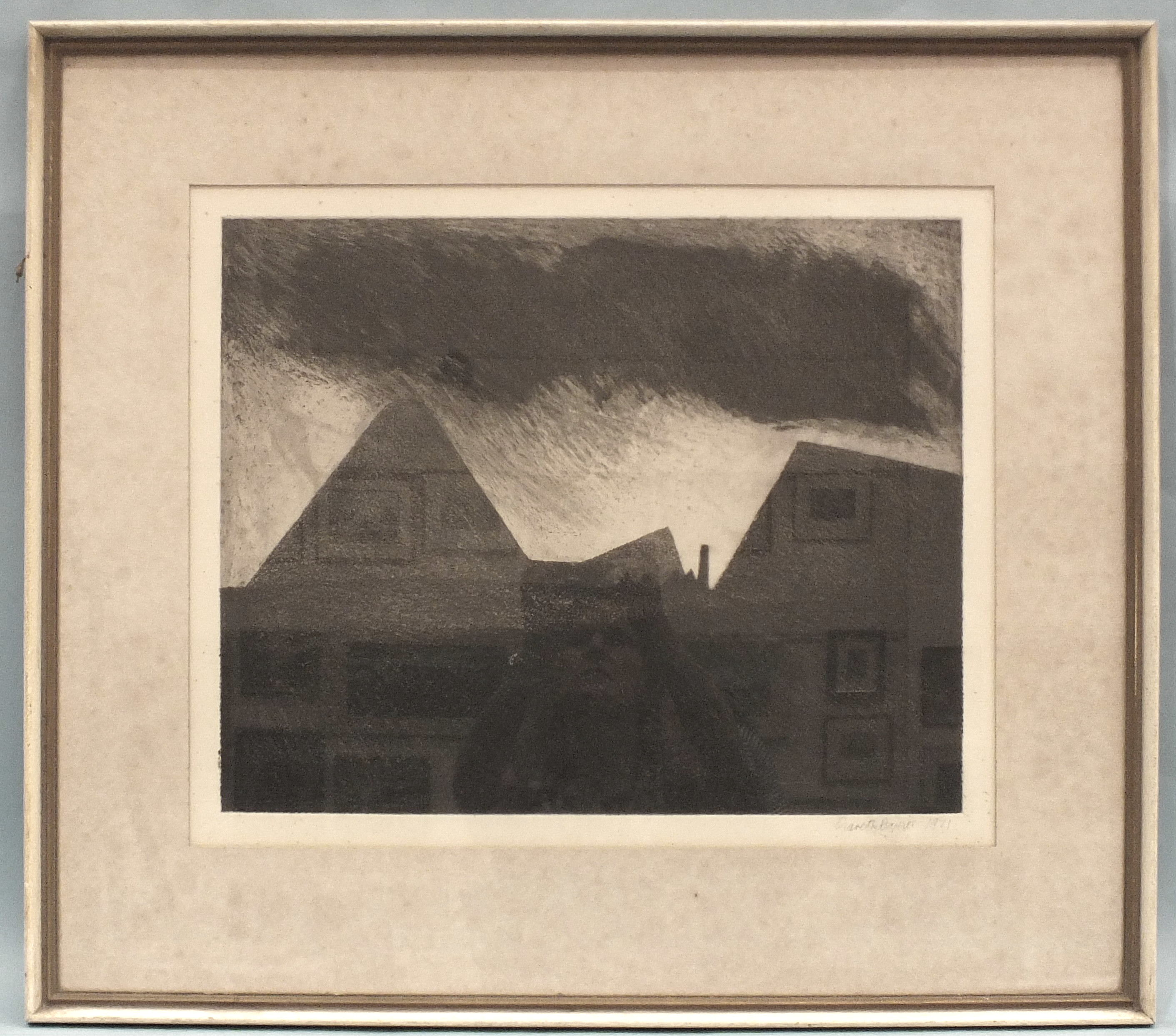 Gareth Davies (b.1937) 'Coal mining landscape', a signed etching, 45 x 54.5cm, signed in pencil on