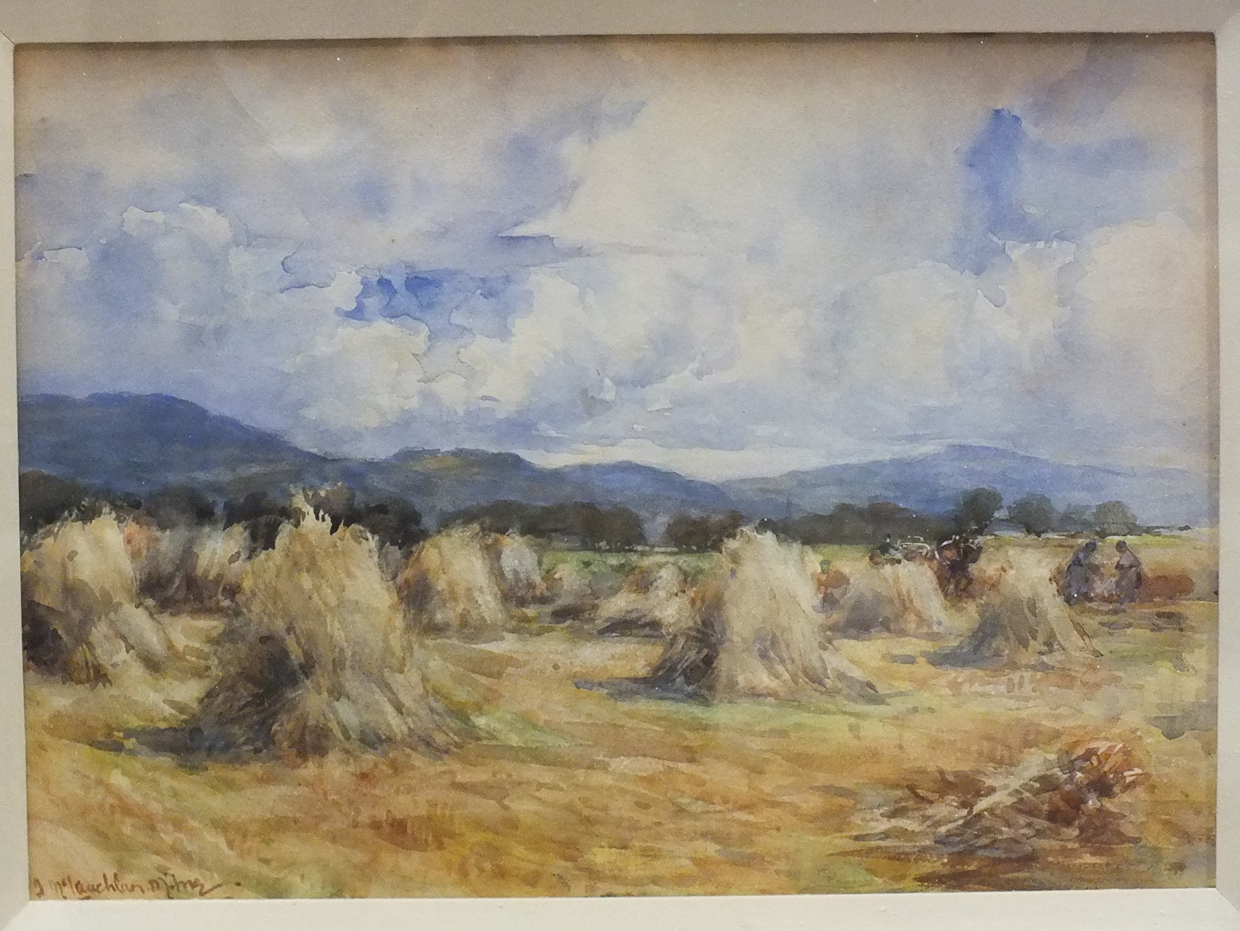 Manner of John Maclauchlan-Milne FIGURES AND A CART IN A HARVEST FIELD Watercolour, 26 x 36cm, bears - Image 2 of 3