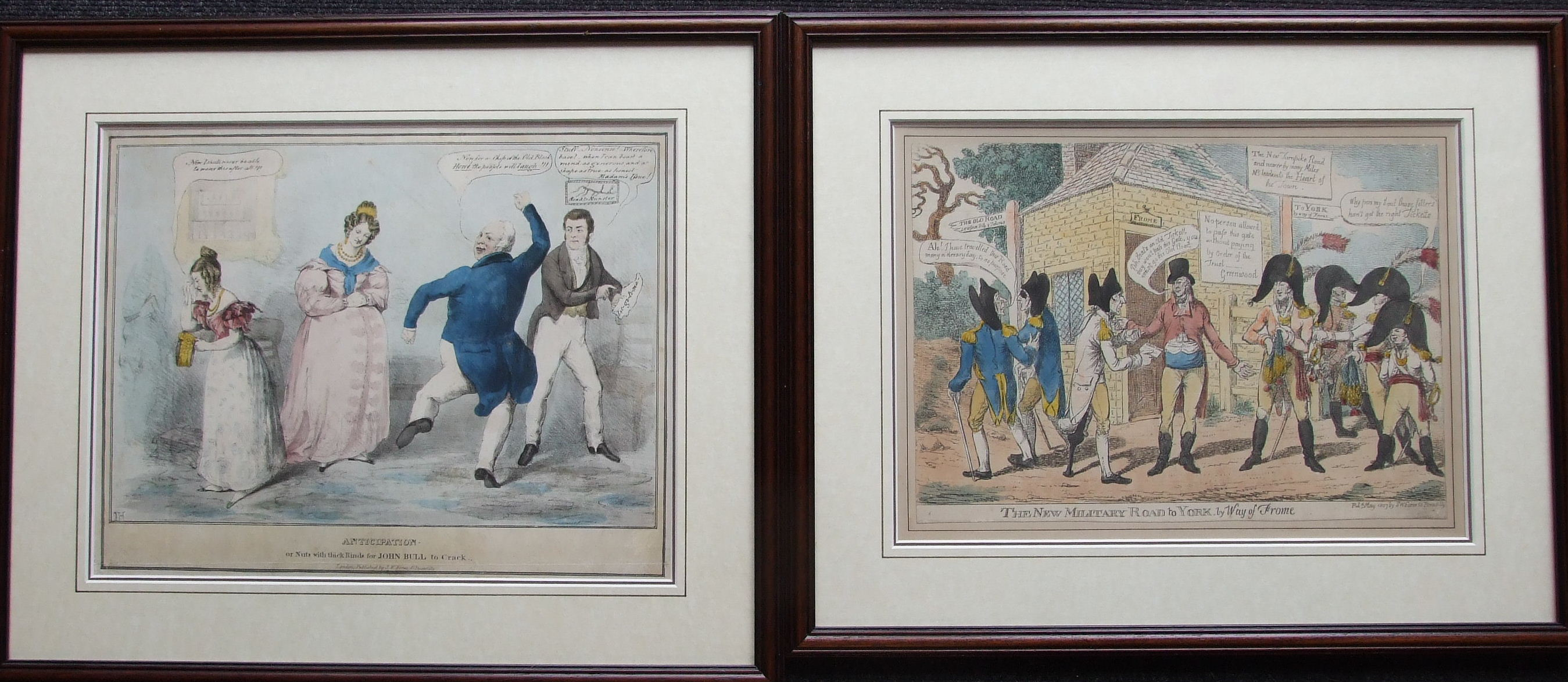 A collection of six framed political and satirical coloured engravings, Pub. Samuel Fores and - Image 2 of 4