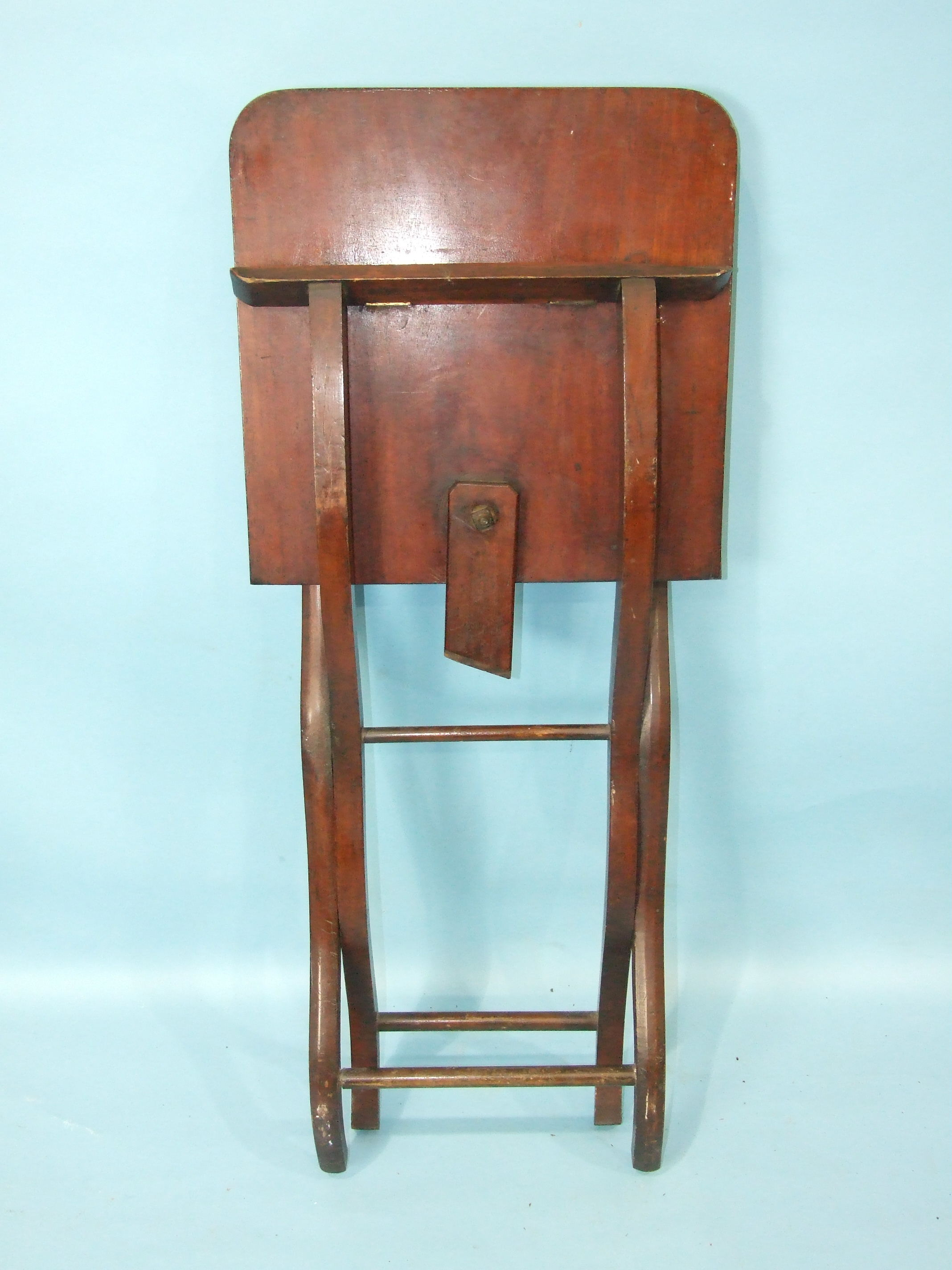 A 19th century mahogany hunting table, the rectangular folding top with flush hinges, on - Image 2 of 3