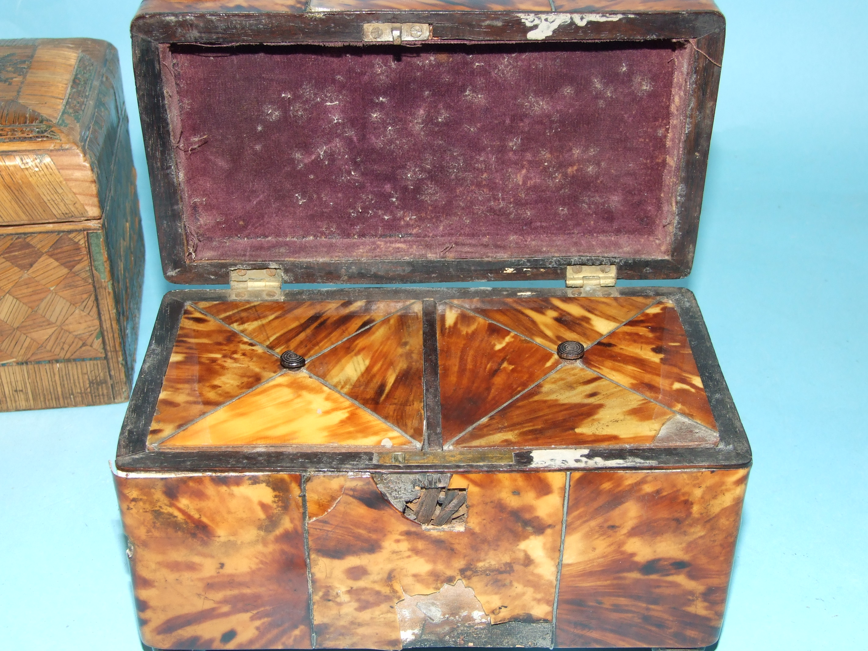 A 19th century straw-work tea caddy, 16cm wide, 12cm high, (losses) and a tortoiseshell two-division - Image 9 of 9