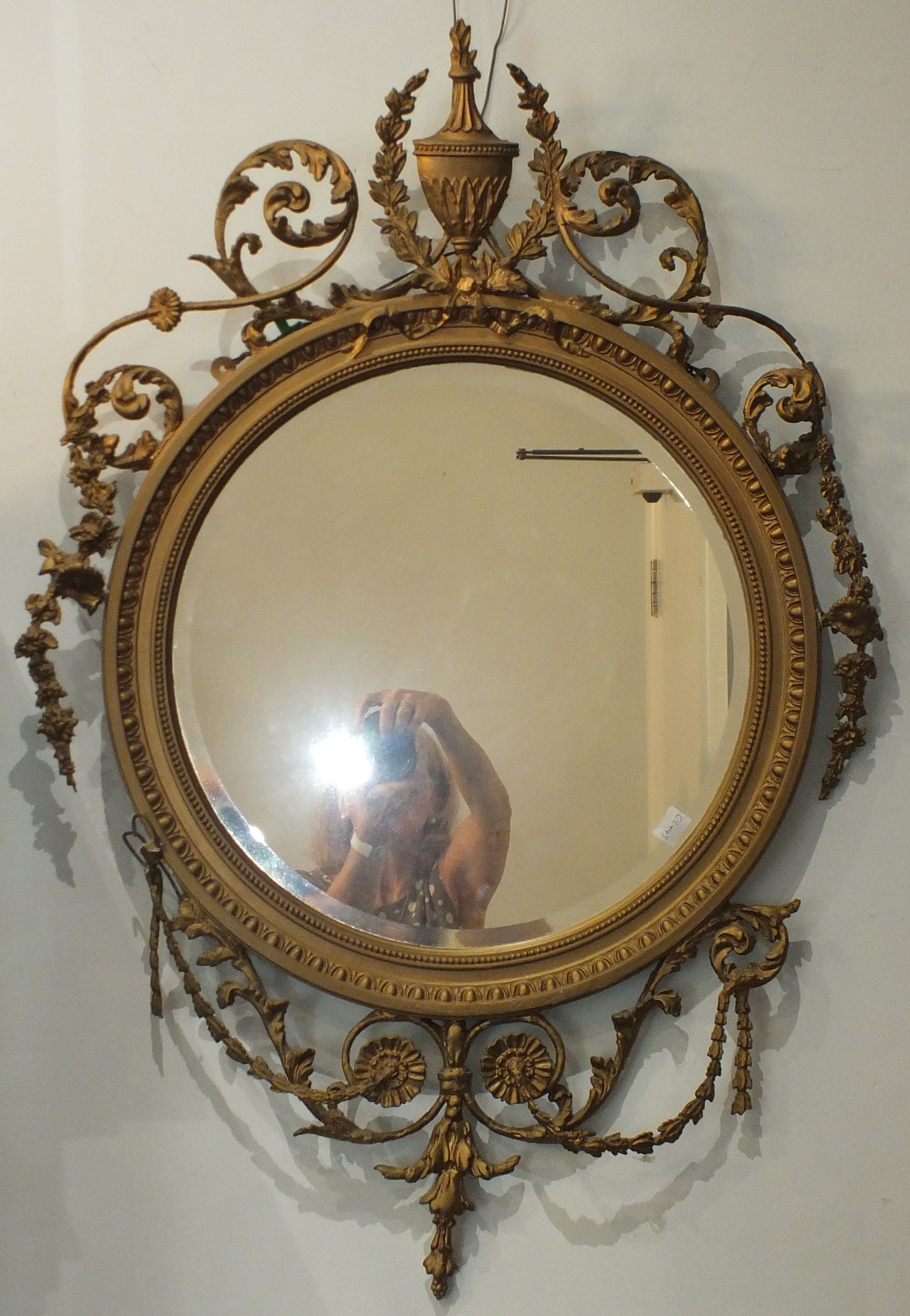 A pair of Victorian Adams-style circular gilt gesso wall mirrors, each bevelled plate with beaded - Image 2 of 2