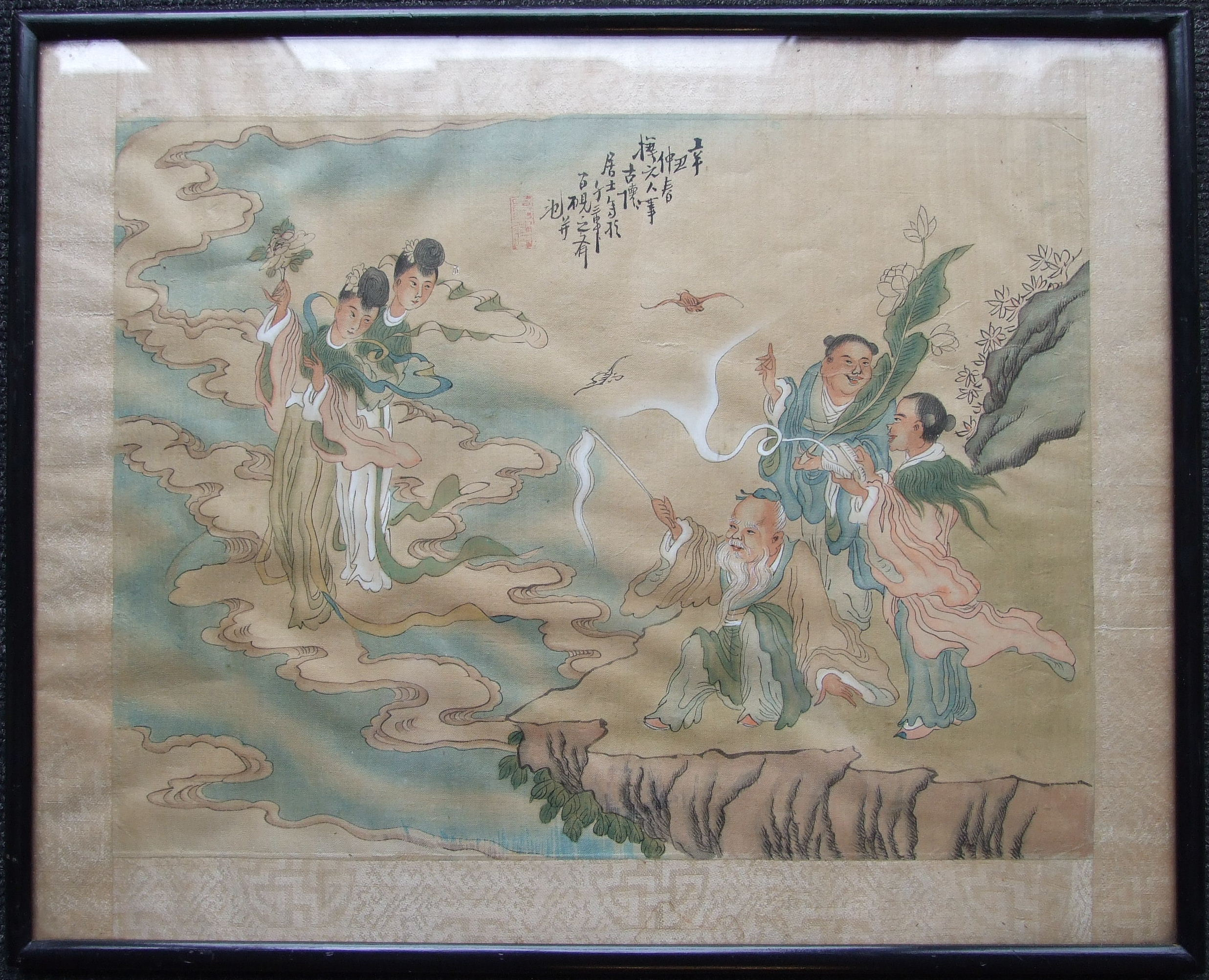 An Oriental silk painting, 'Figures seated around a table', 28 x 36cm, another of male and female - Image 3 of 3