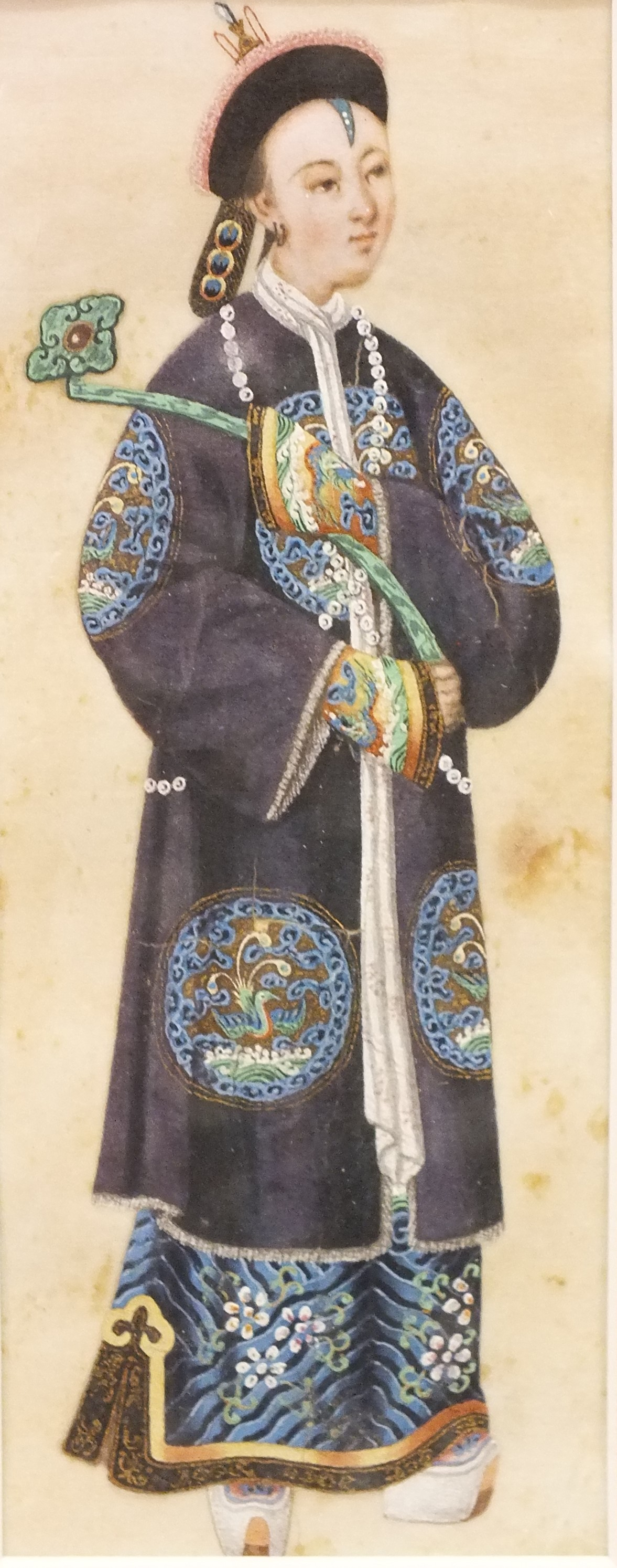 A late-19th century rice paper watercolour depicting a young man in traditional costume, wearing - Image 2 of 2