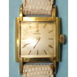 Omega, a lady's late-1950's 18ct gold-cased wrist watch, the square silvered dial with baton