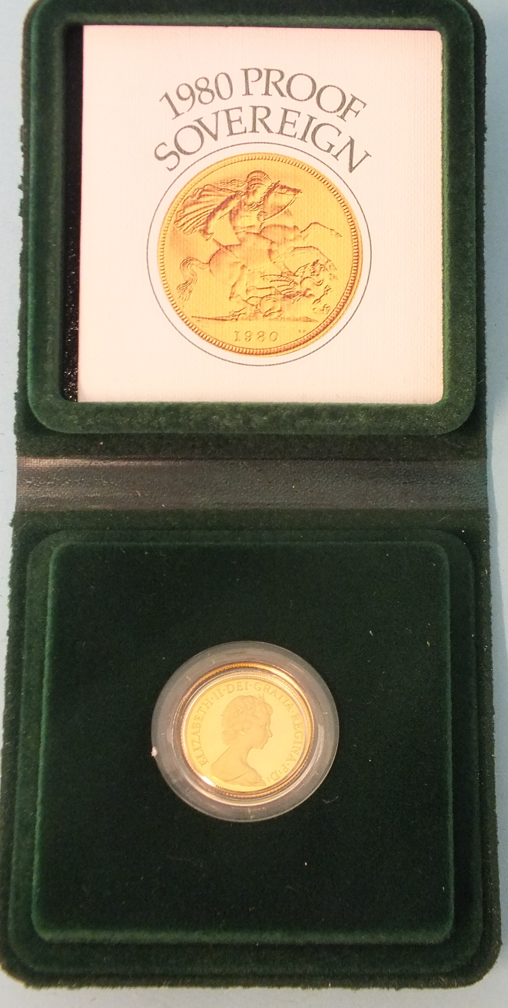 A Royal Mint cased 1980 proof sovereign in capsule, with certificate of authenticity.