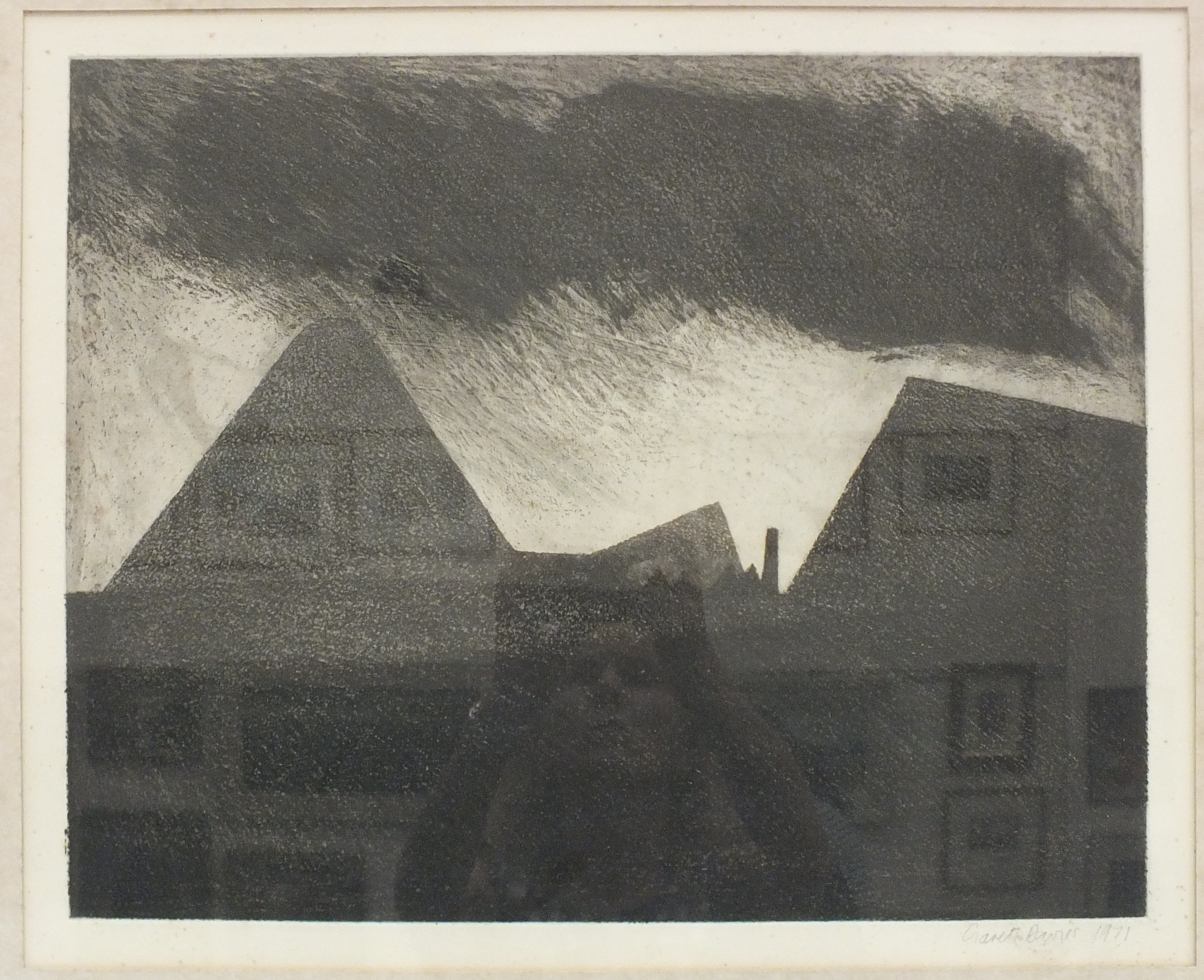Gareth Davies (b.1937) 'Coal mining landscape', a signed etching, 45 x 54.5cm, signed in pencil on - Image 2 of 2