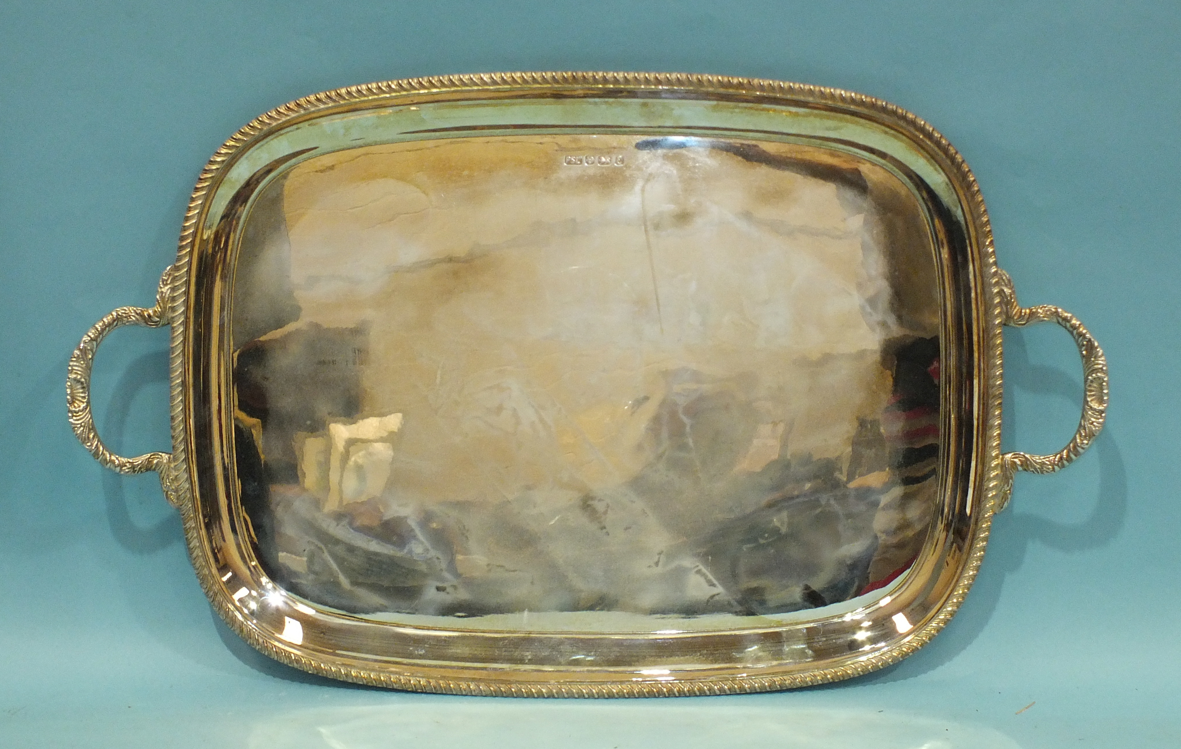 A modern rectangular silver tray with gadrooned border, makers Parkin Silversmiths Ltd, 56.5 x 34.