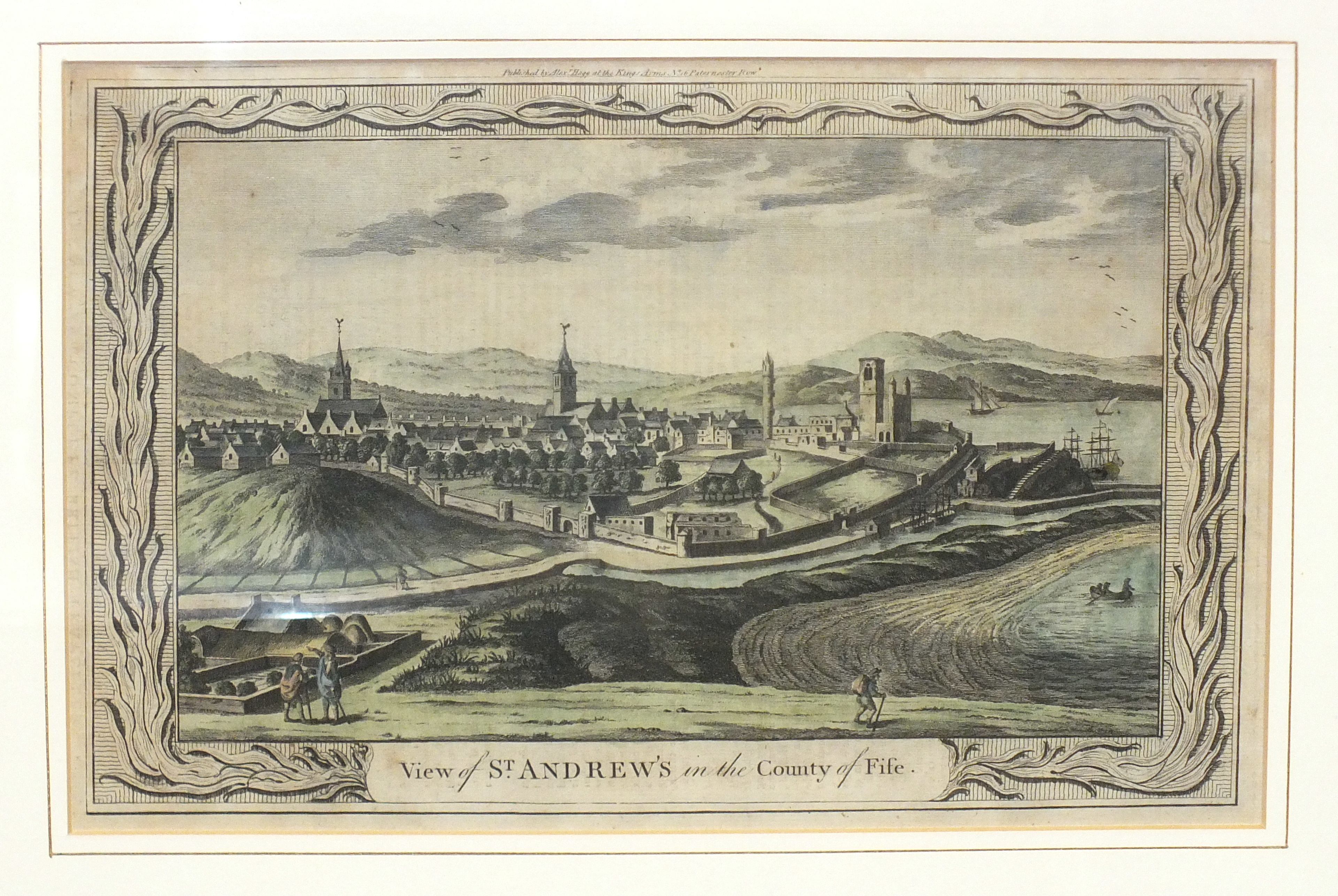 A 19th century hand-coloured engraving 'View of St Andrews in the County of Fife', 23 x 35cm.