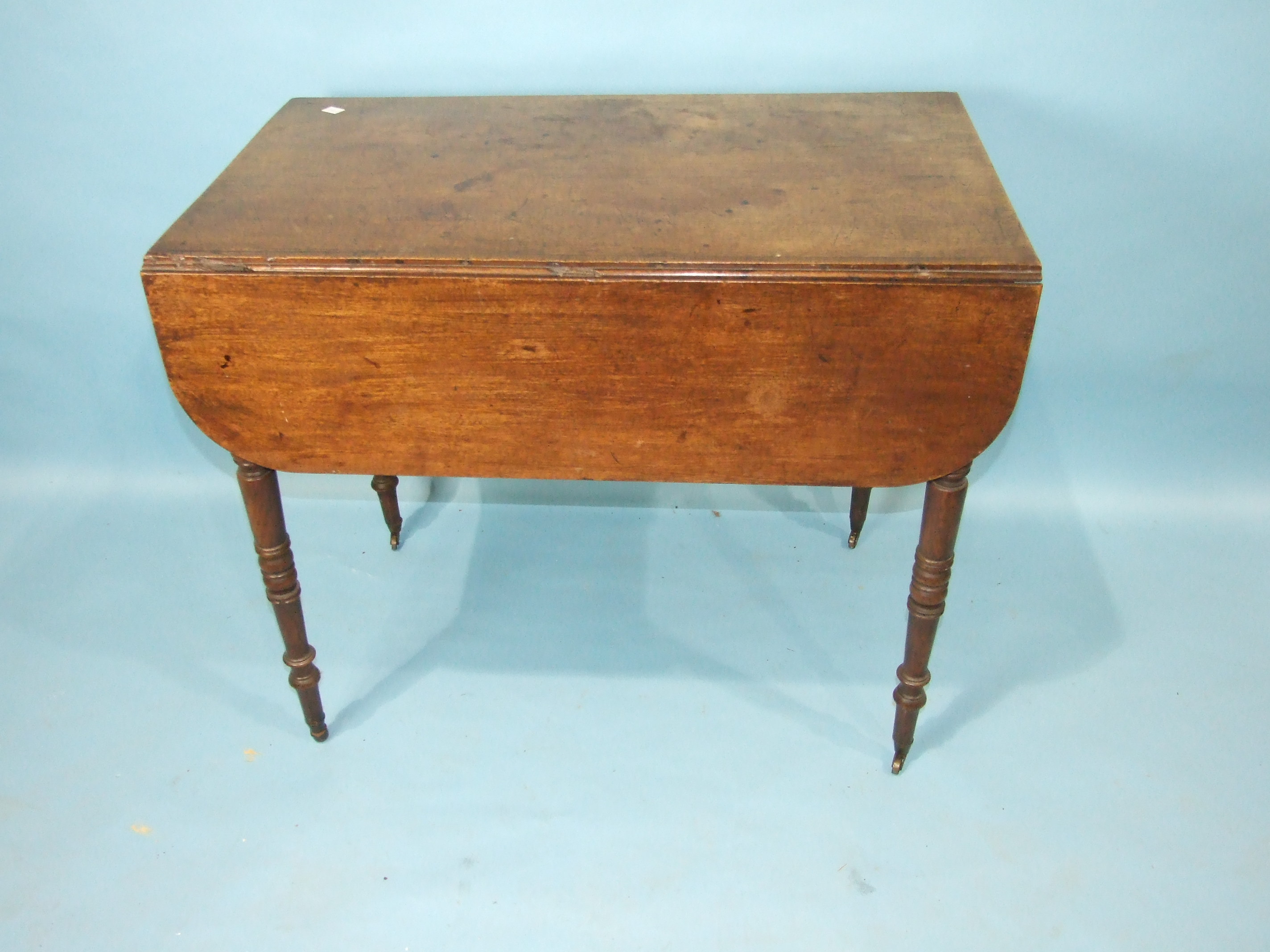 A Victorian mahogany three-tier whatnot on turned legs with castors, 73cm wide, 96cm high, a - Image 3 of 3