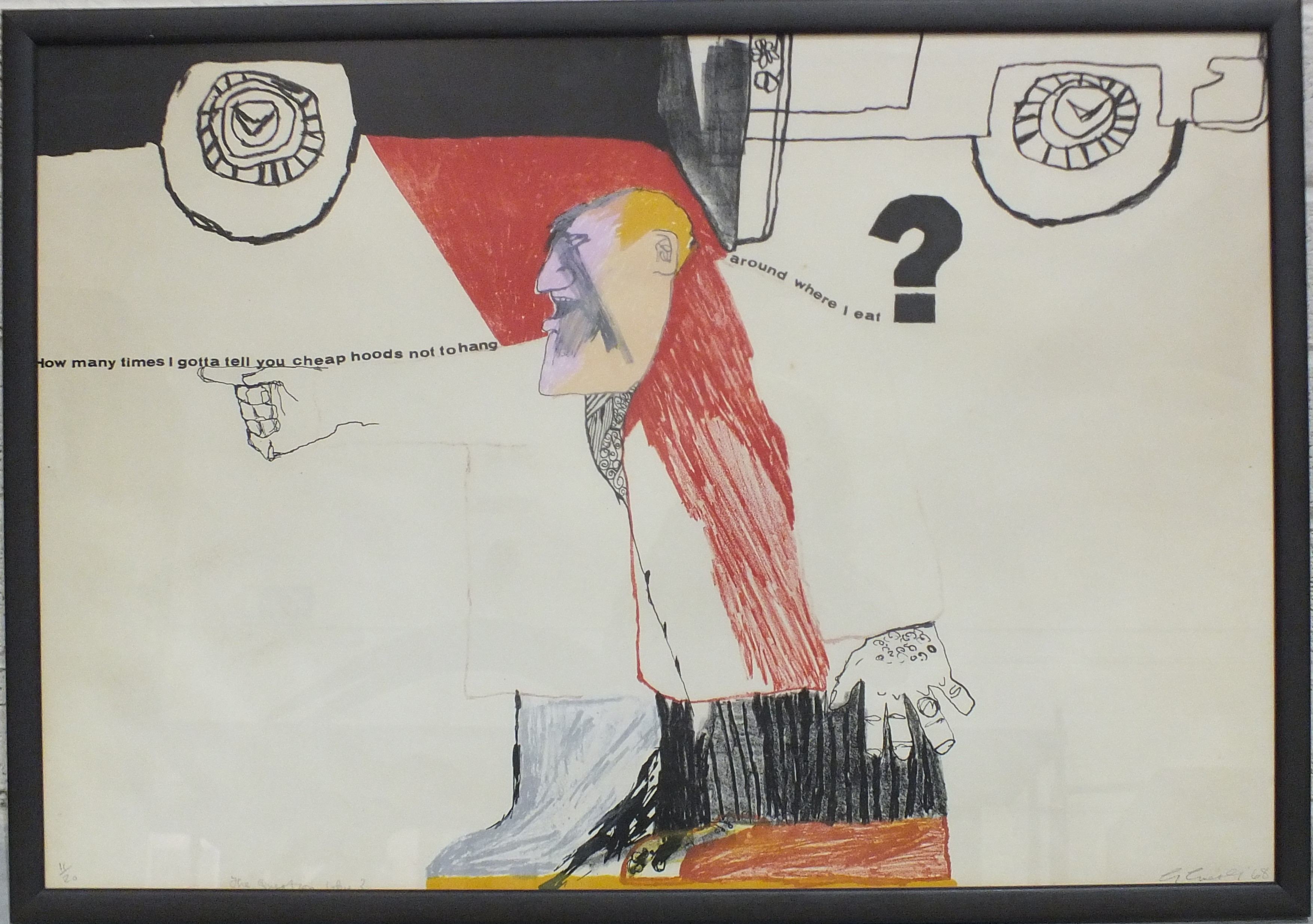 After George Guest, 'The Question Why?', a limited-edition coloured print, 53 x 76.5cm, signed,