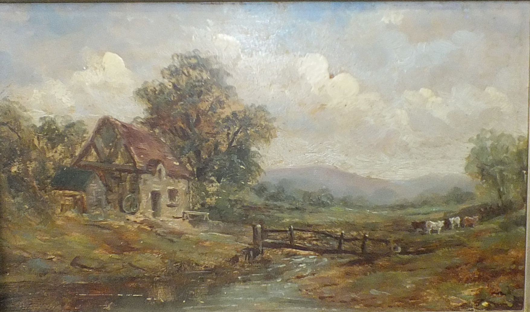 19th century English School CATTLE AND COTTAGE IN PASTORAL LANDSCAPE Unsigned oil on board, 15.5 x - Image 2 of 2