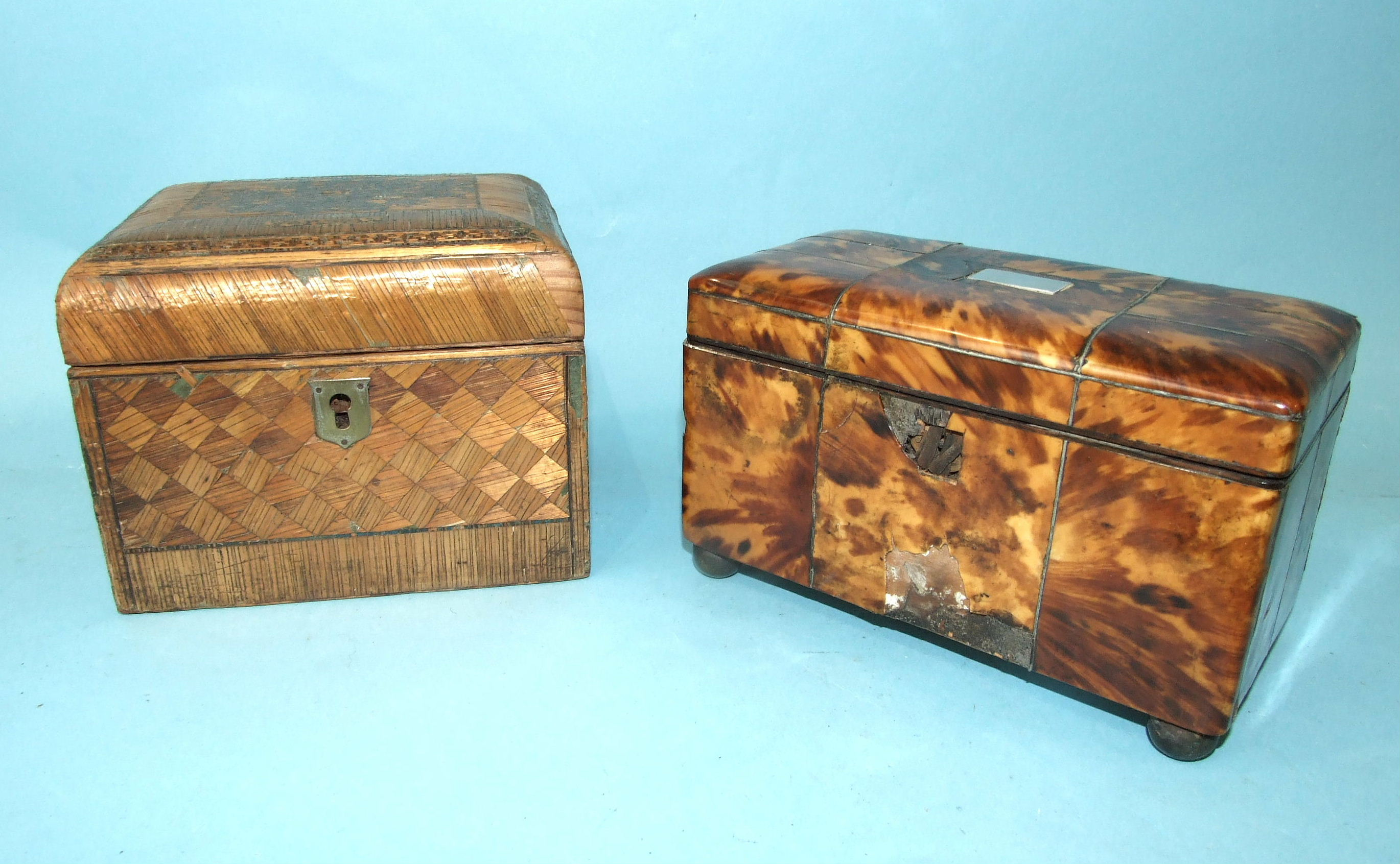 A 19th century straw-work tea caddy, 16cm wide, 12cm high, (losses) and a tortoiseshell two-division