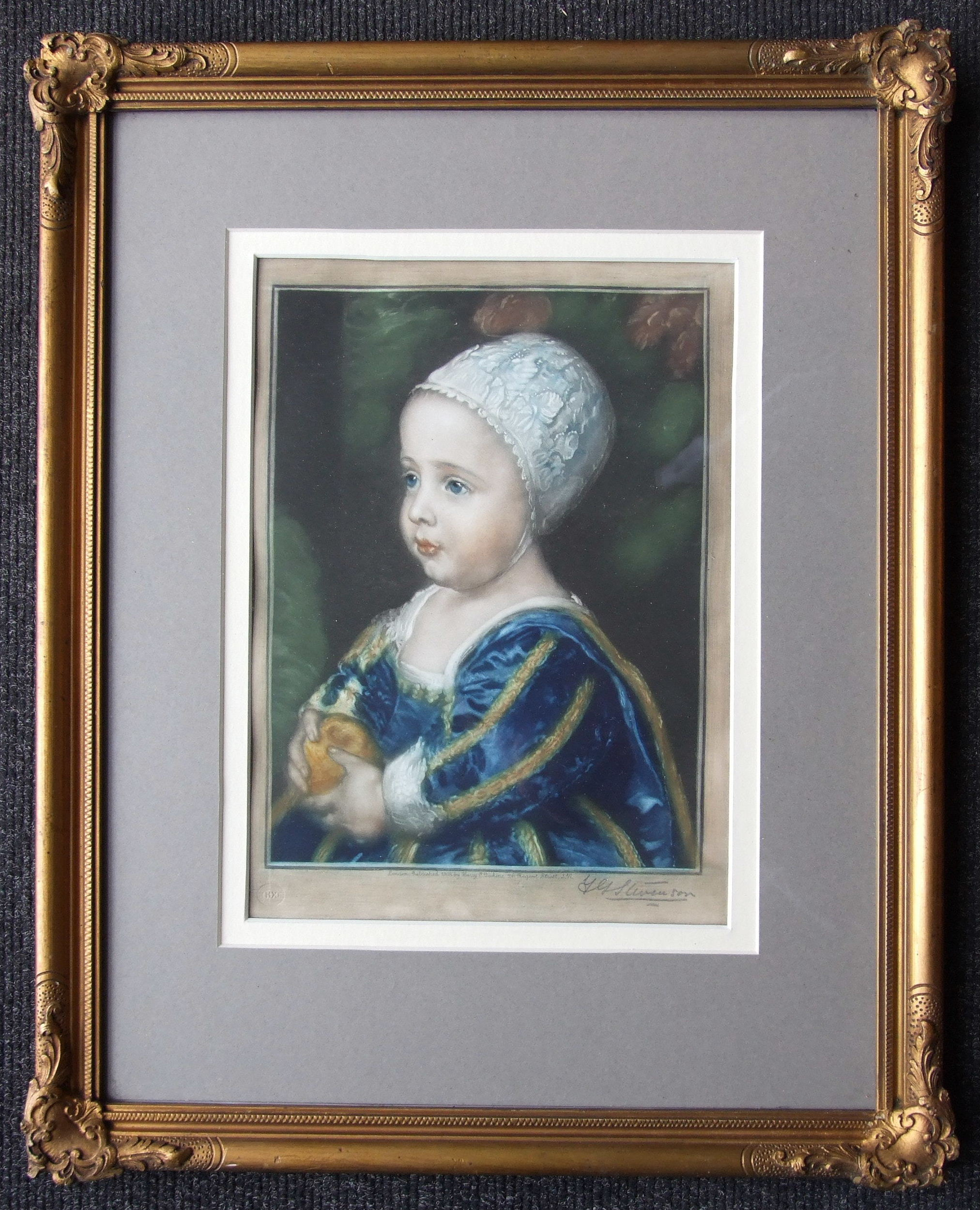 A coloured engraving of a young girl holding an orange, signed in pencil Y G Stevenson, 25.5 x 18cm,