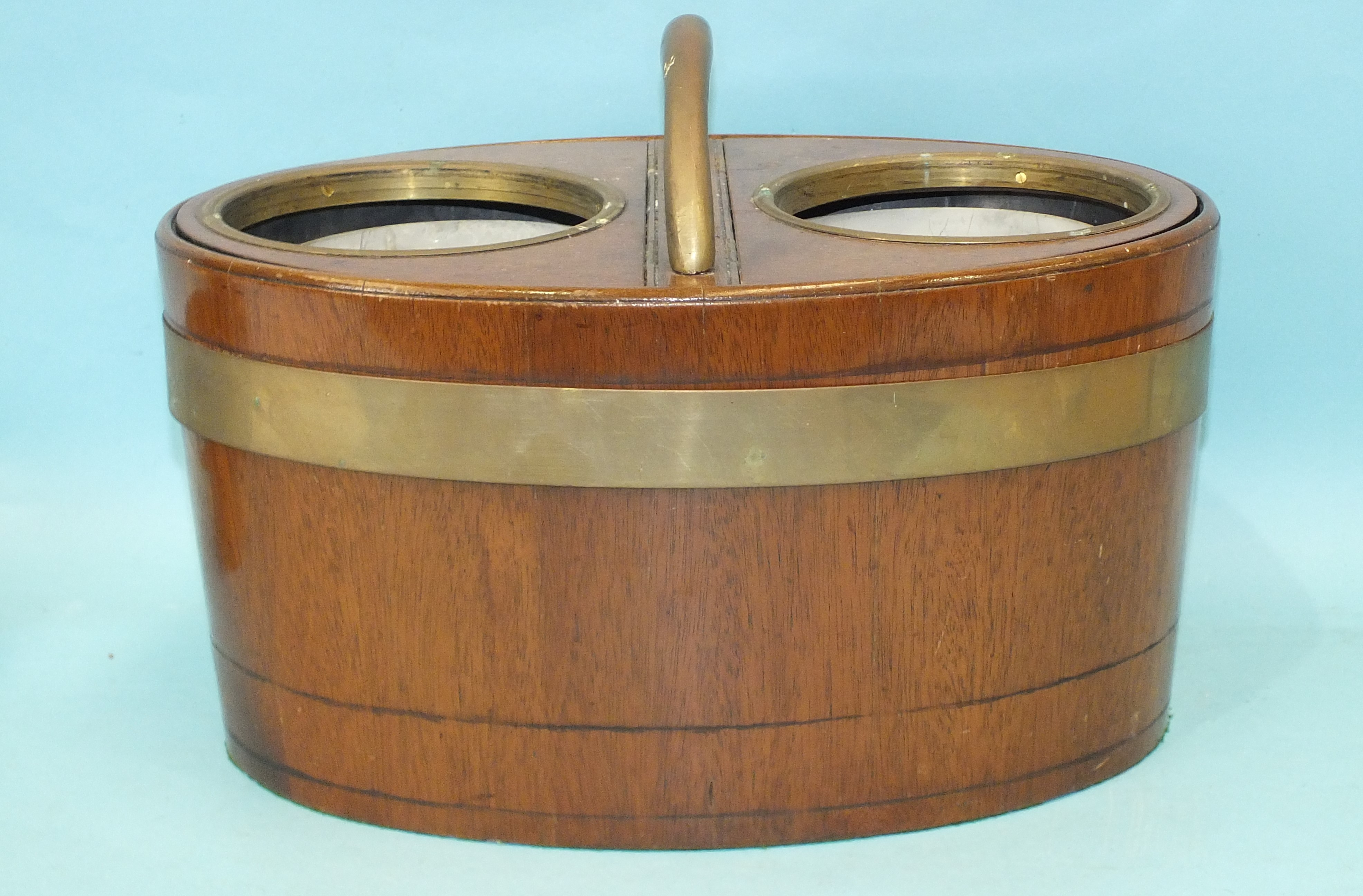 A coopered mahogany two-division wine cooler of oval form, fitted with a pair of hinged lids, with - Image 3 of 3